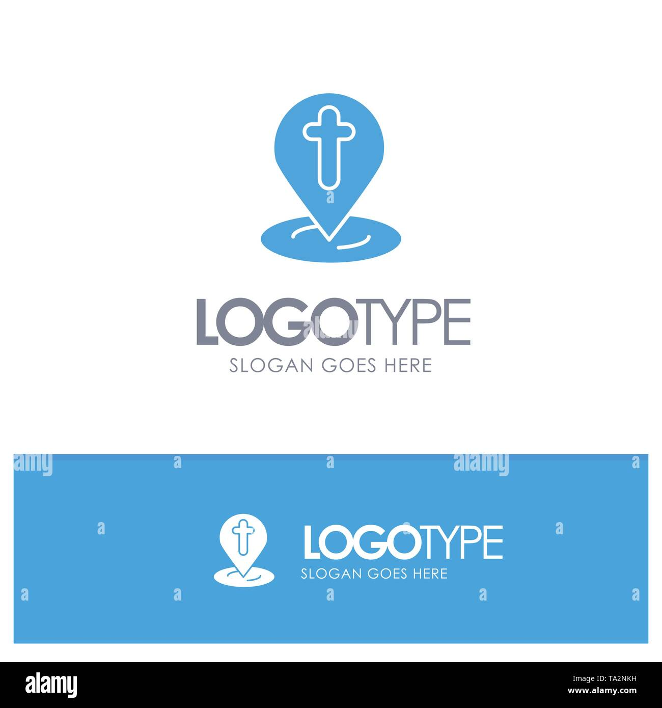 Location, Map, Easter, Pin Blue Solid Logo with place for tagline - Stock Image