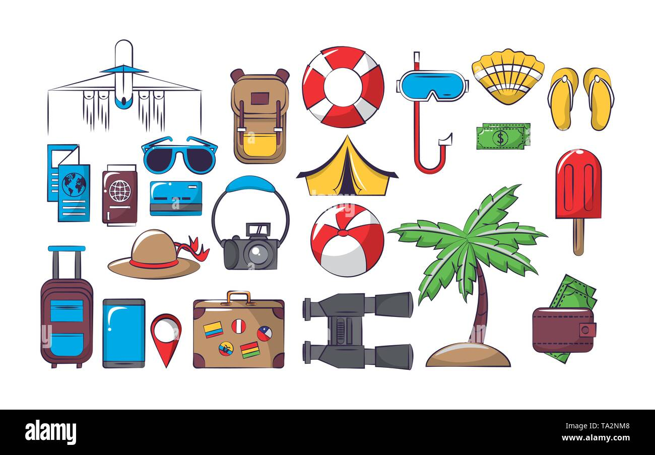 Travel and vacations set of icons - Stock Image