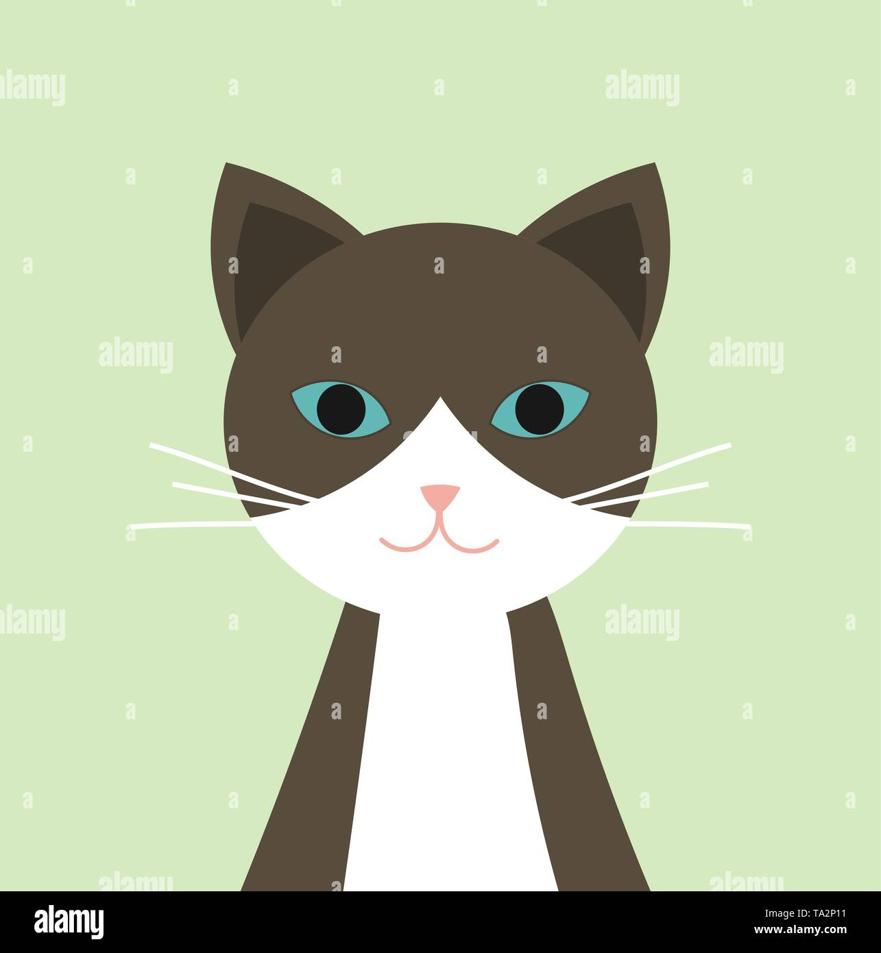 Brown and white cat with blue eyes portrait. Vector illustration - Stock Image