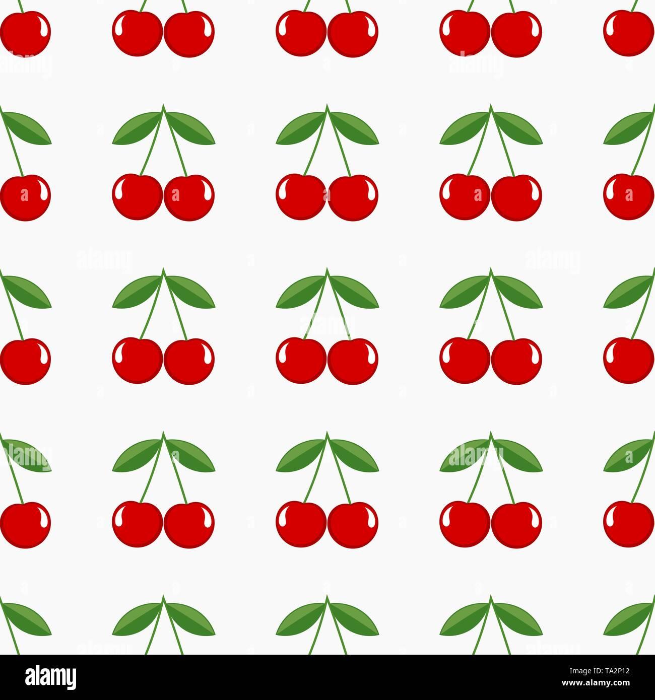 Cherry seamless pattern. Vector illustration - Stock Image