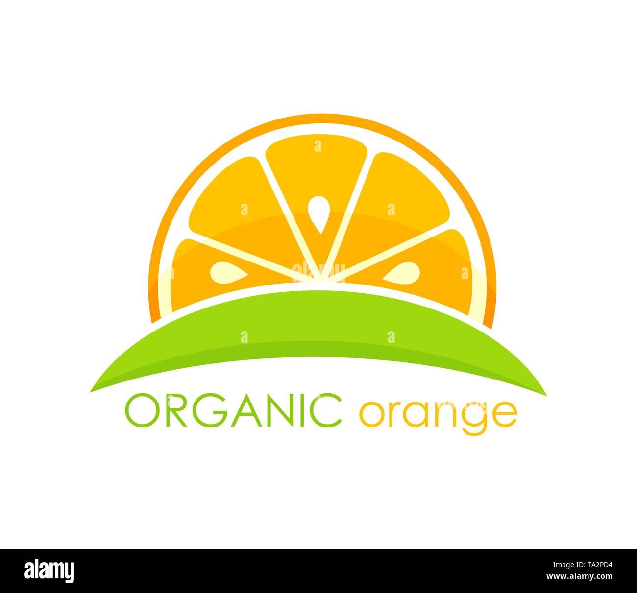 Organic orange symbol. Vector illustration - Stock Image