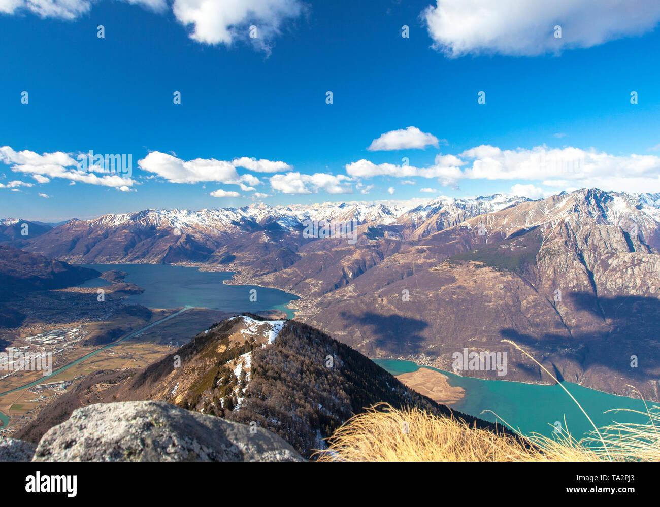 Panoramic of Lake Como and Valchiavenna from Monte Brusada, Rhaetian Alps, Sondrio province, Lower Valtellina, Lombardy, Italy Stock Photo