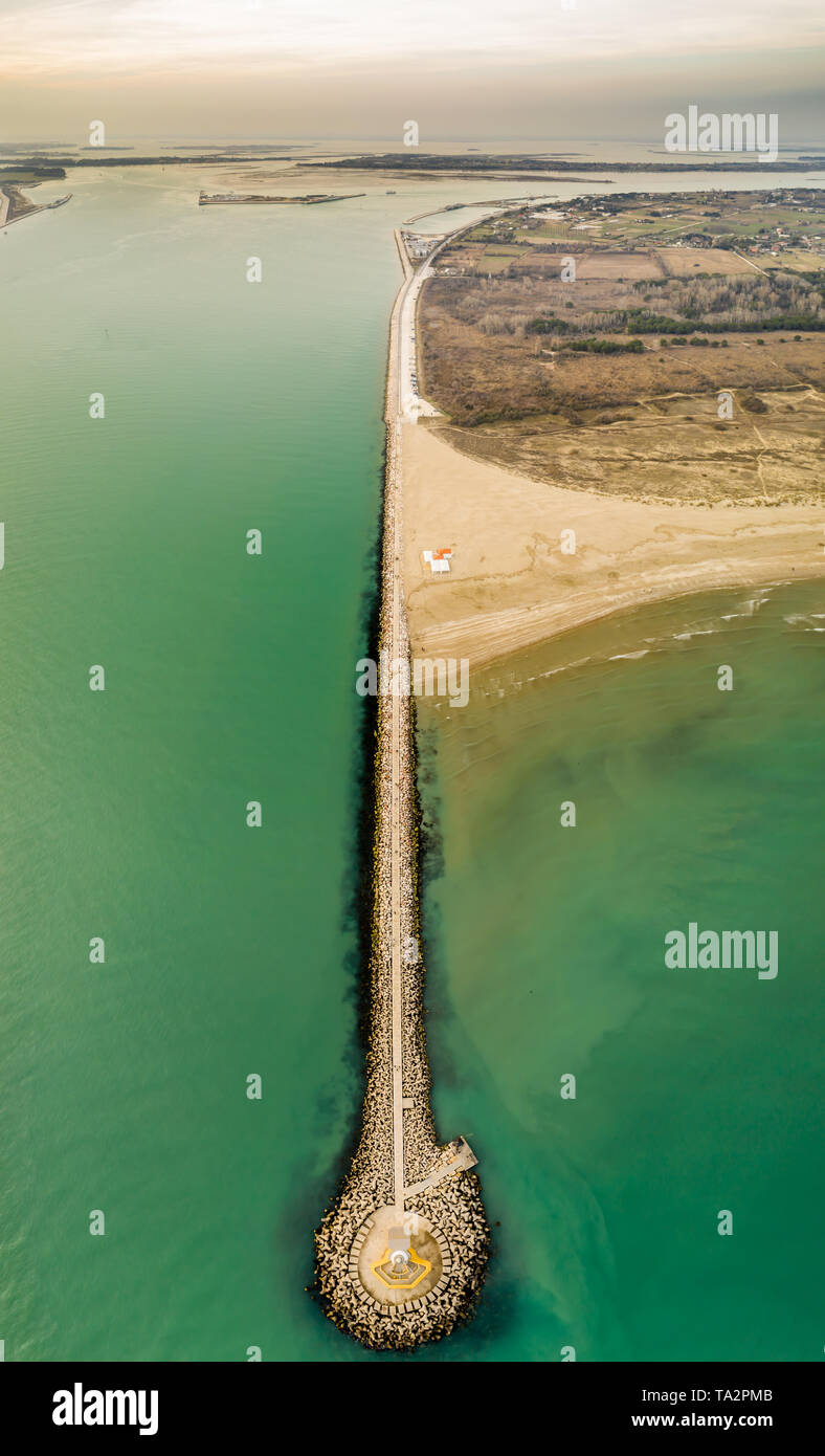 lignano sabbiadoro lighthouse, geometrical photo, view from a drone - Stock Image