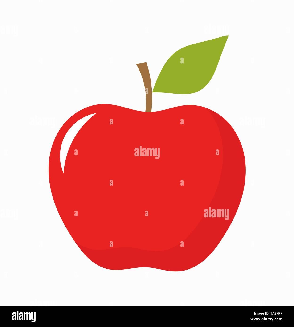 Red apple fruit. Vector illustration - Stock Image
