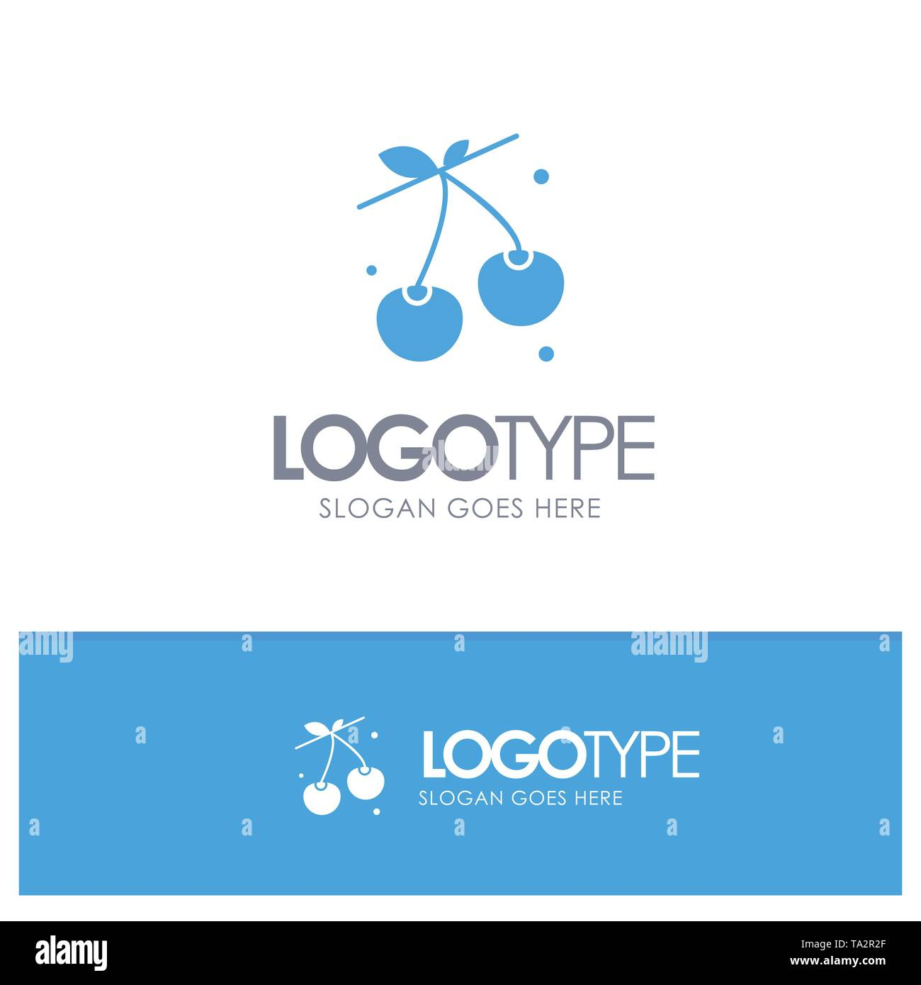 Berry, Cherry, Food, Spring Blue Solid Logo with place for tagline - Stock Image