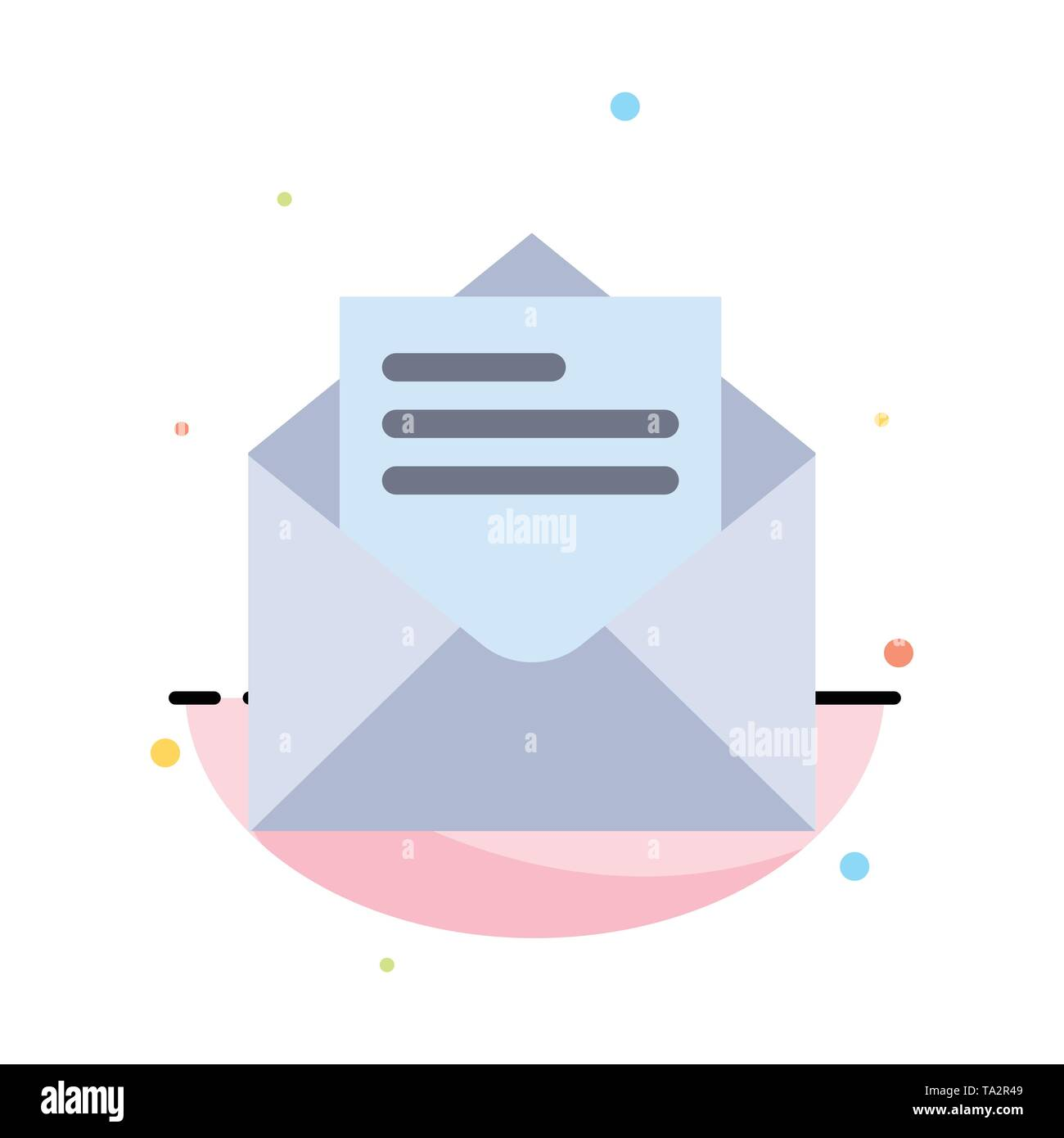 Email, Mail, Message, Text Abstract Flat Color Icon Template - Stock Image
