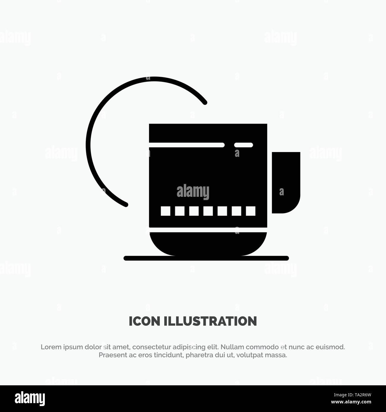 Tea, Hot, Hotel, Service Solid Black Glyph Icon - Stock Image