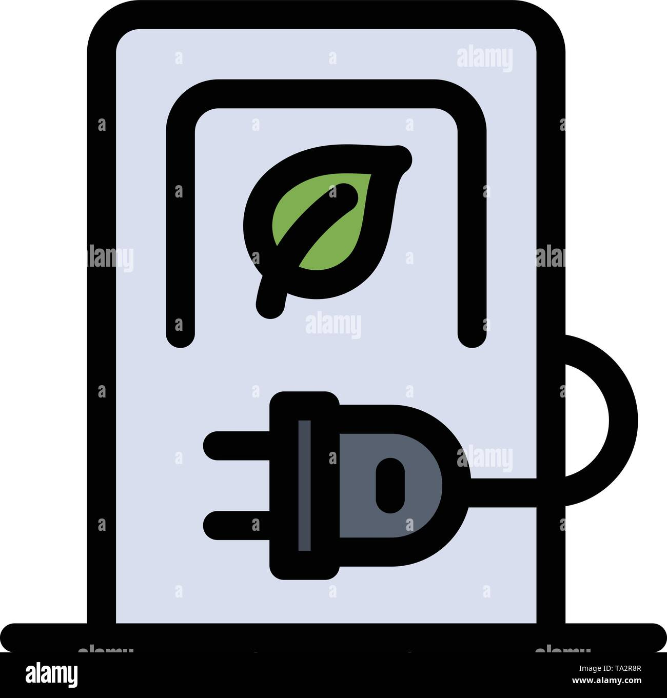 Car, Charging, Electric, Stations, Vehicle  Flat Color Icon. Vector icon banner Template - Stock Image