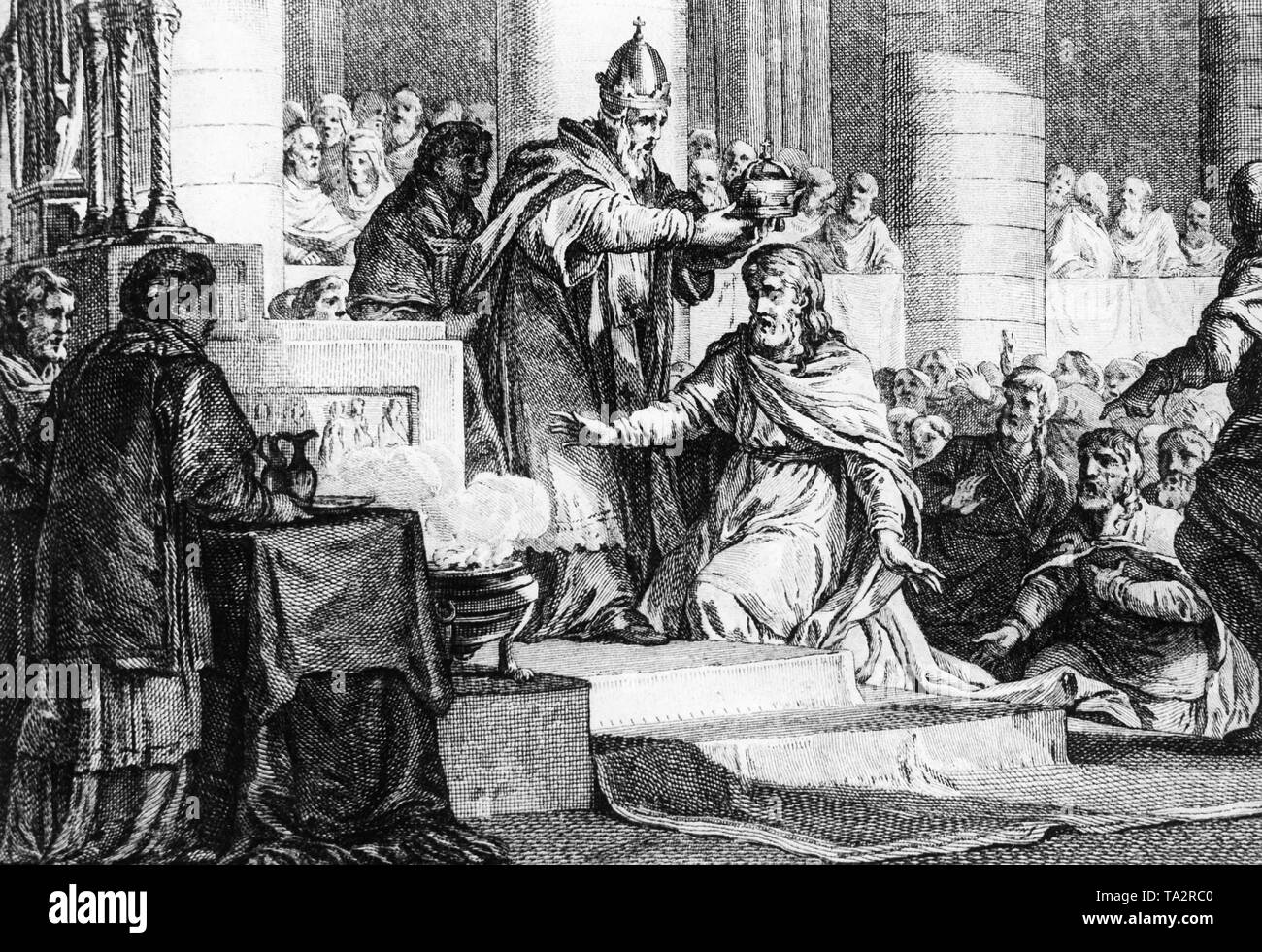 Charlemagne crowned Holy Roman Emperor by Pope Leo III on Christmas Day at Old St. Peter's Basilica in 800. An engraving from the workshop of  I. P. Le Bas after a drawing by J.M. Moreau le Jeune (Paris, circa 1750) - Stock Image