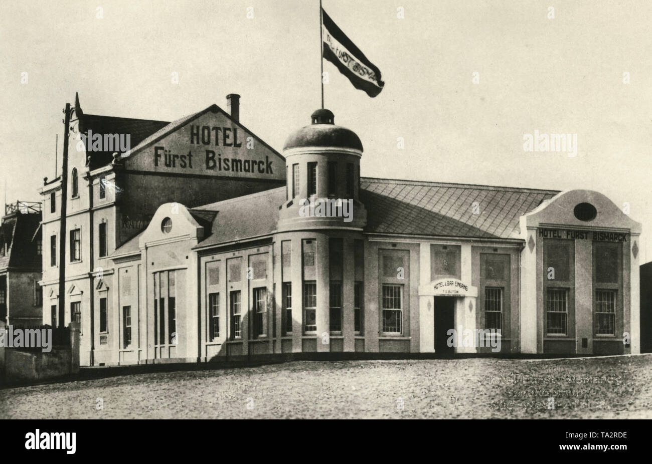 The Hotel 'Fuerst Bismarck' in Swakopmund, in the former German colony of German South West Africa. - Stock Image