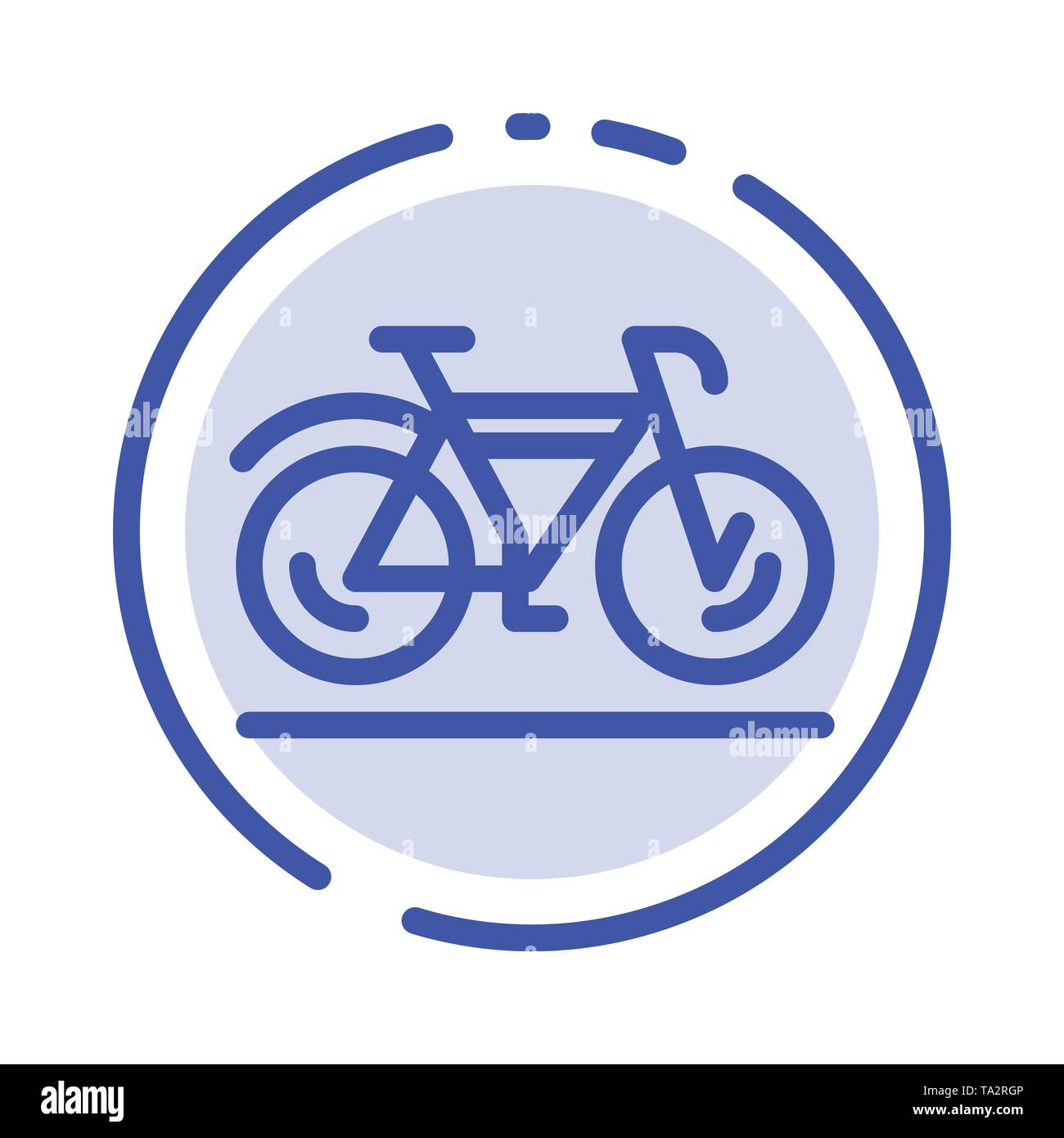 Bicycle, Movement, Walk, Sport Blue Dotted Line Line Icon - Stock Image
