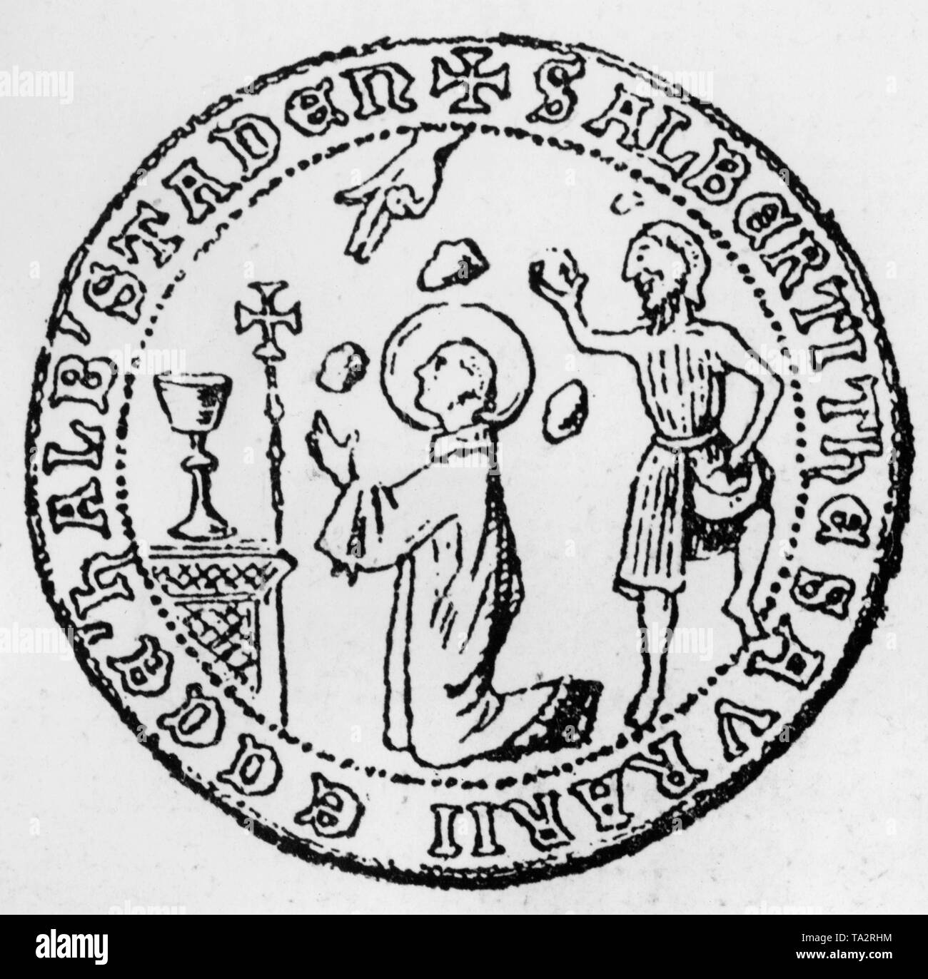 The oldest depiction of Jews on a seal, who stoned Saint Stephen to death. This seal belongs to the treasurer and dean of the cathedral chapter Halberstadt. - Stock Image