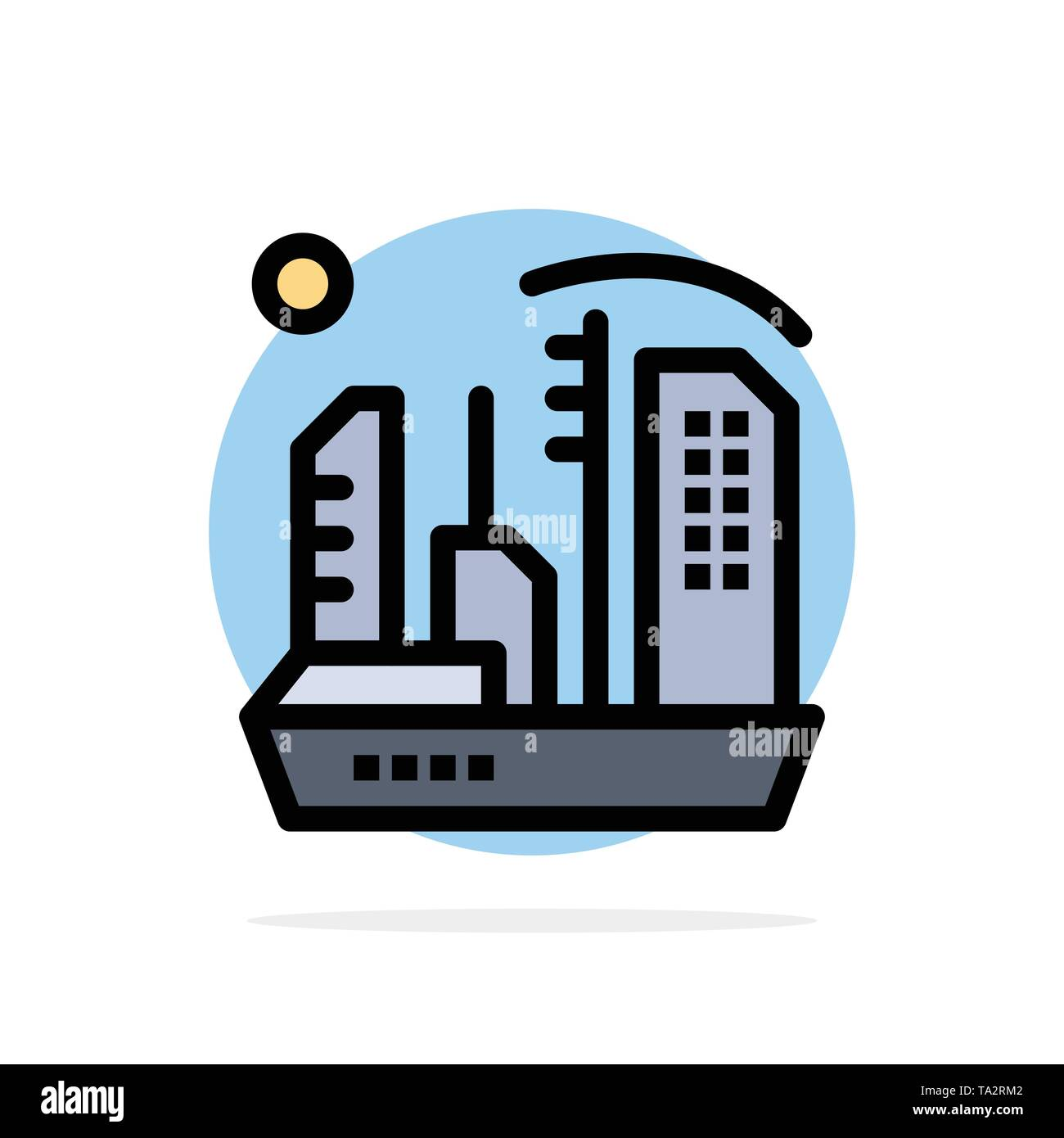 City, Colonization, Colony, Dome, Expansion Abstract Circle Background Flat color Icon - Stock Image
