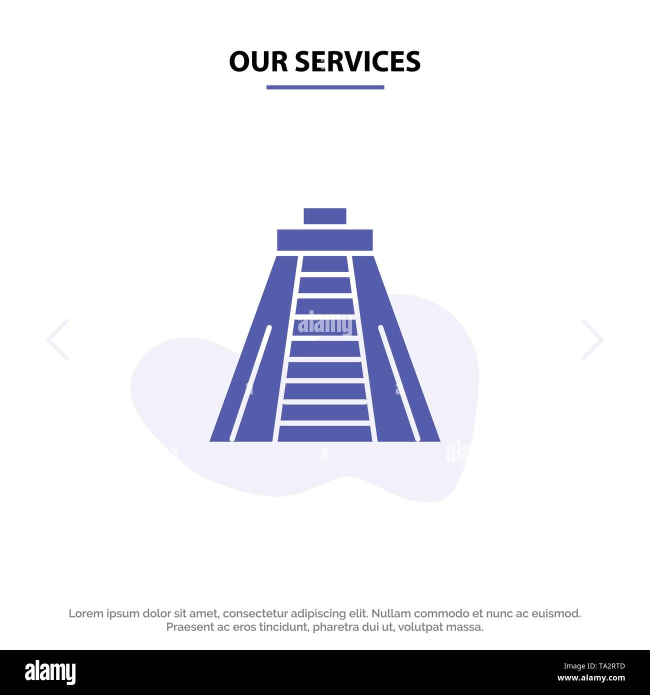 Our Services  Chichen Itza, Landmark, Monument Solid Glyph Icon Web card Template - Stock Image