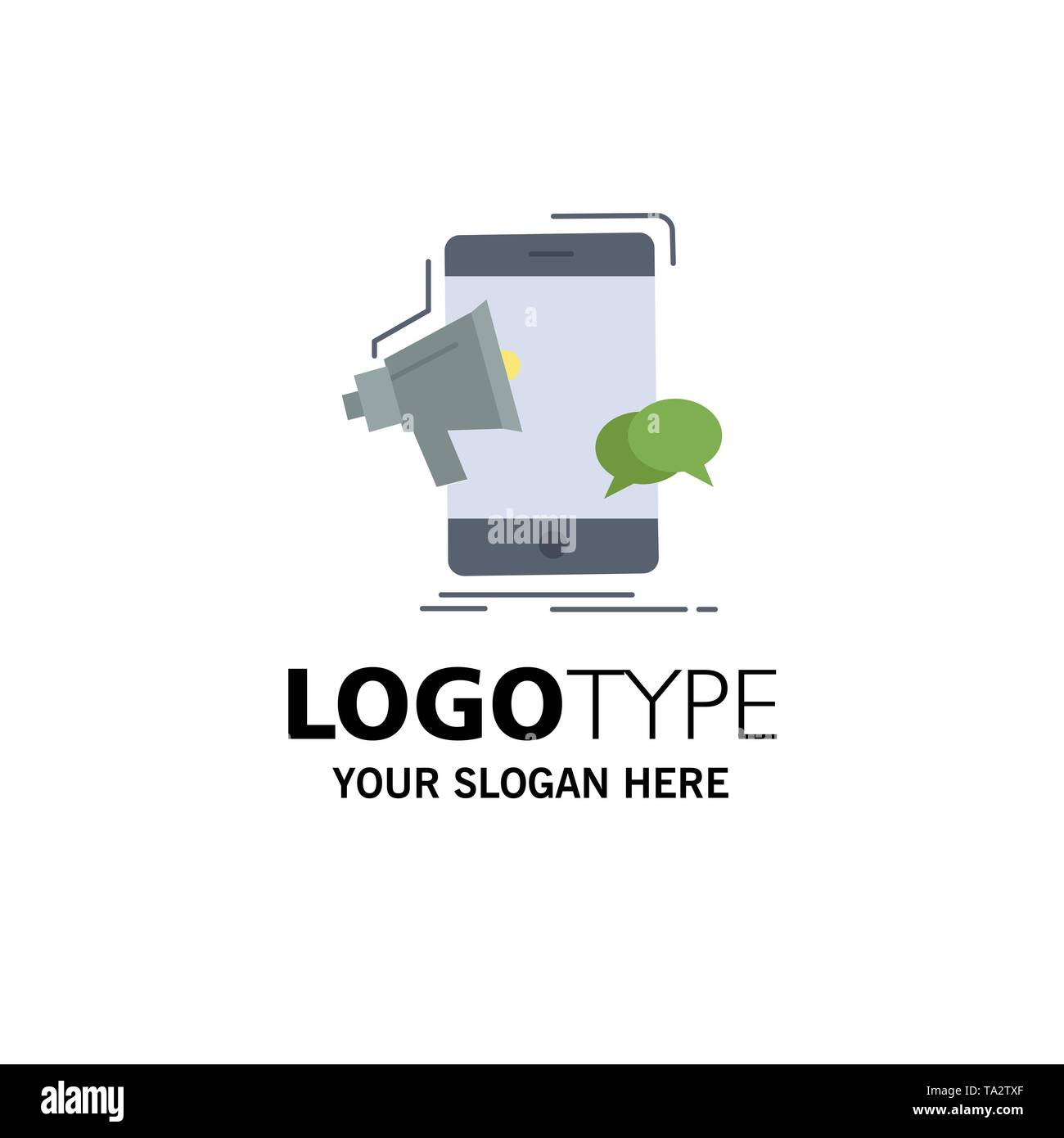 bullhorn, marketing, mobile, megaphone, promotion Flat Color Icon Vector - Stock Vector