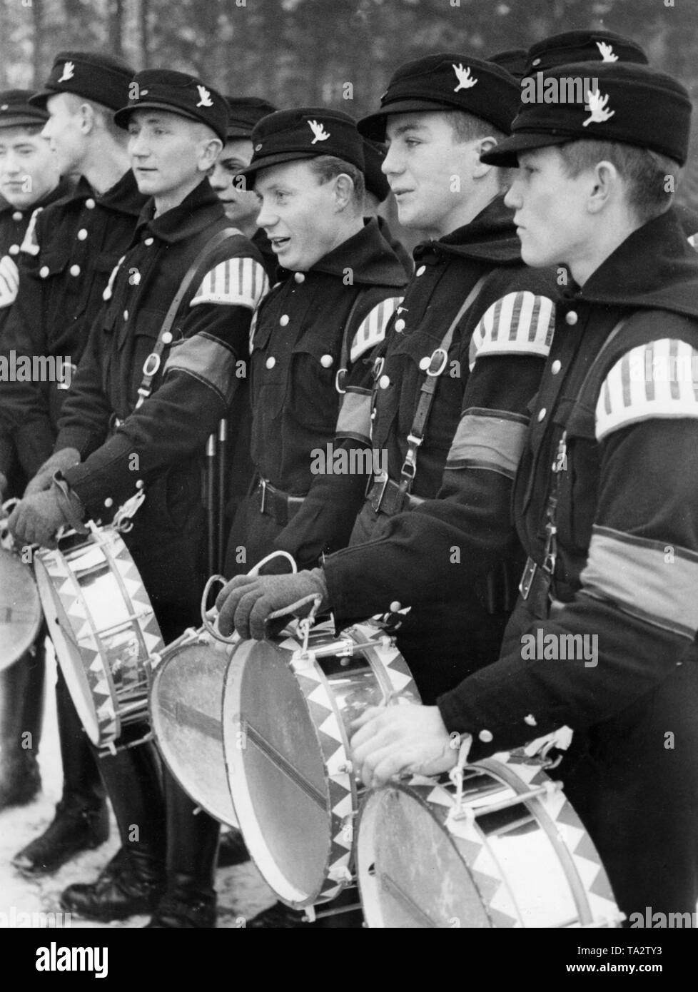 Drummer of a newly assembled music band of the Memellaendischen Ordnungsdienst (SS) during a training. Stock Photo