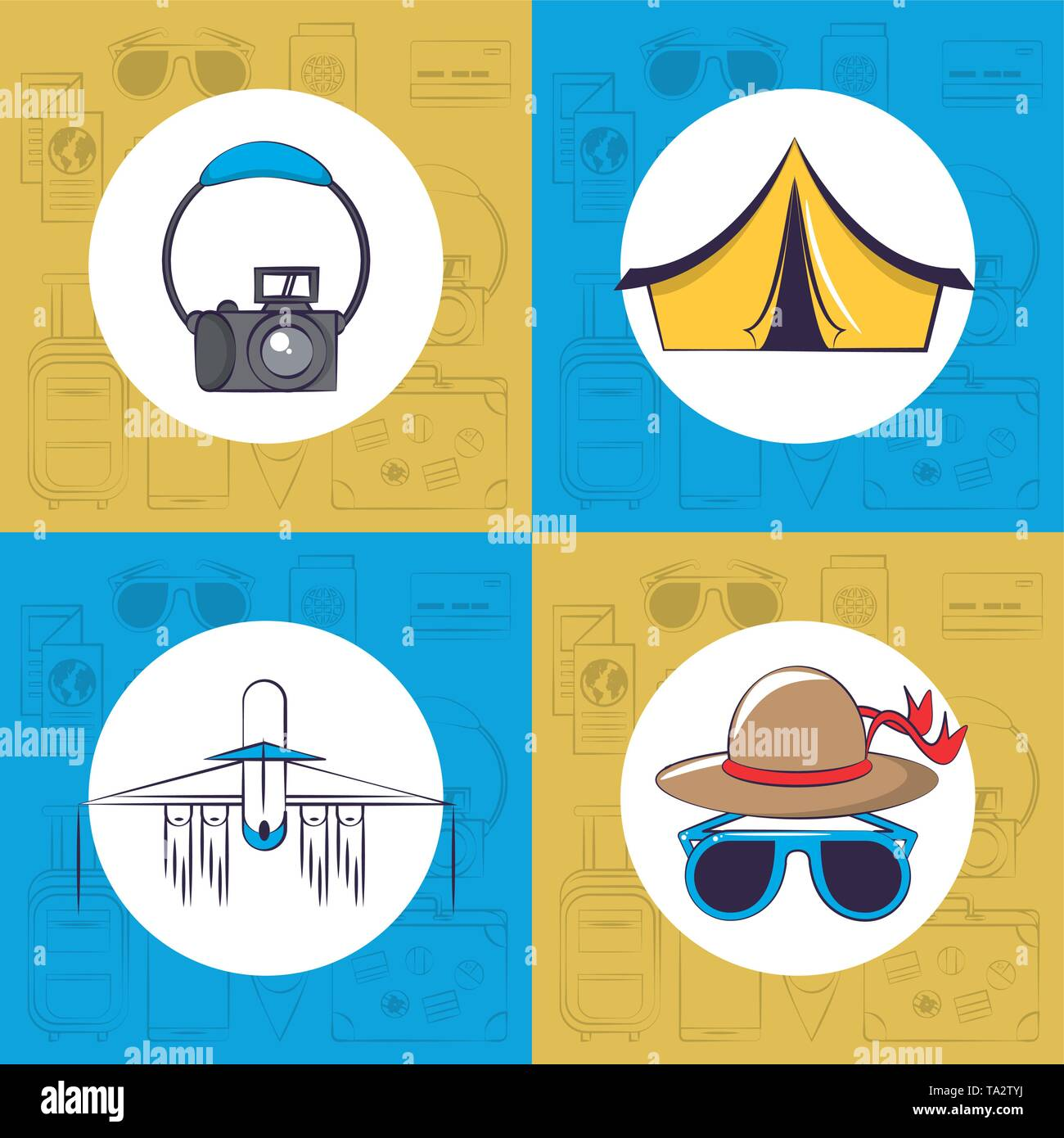 Travel and tourism set of emblems - Stock Image