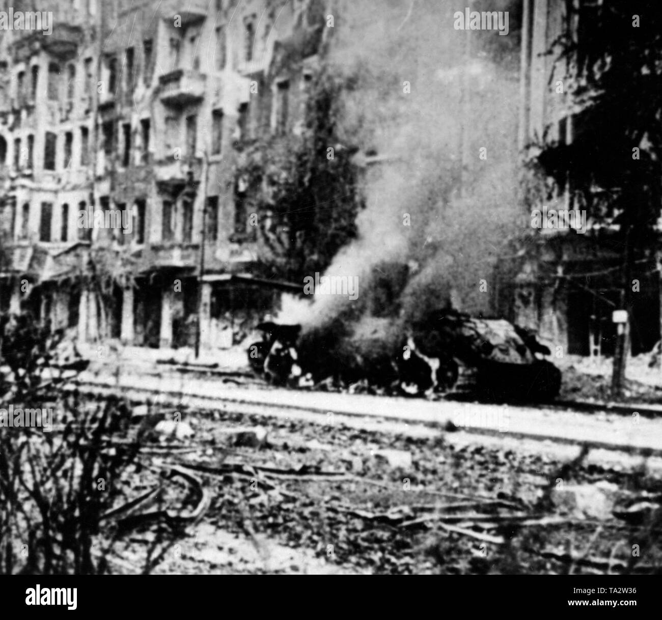 A shot Russian T-34/85 during the street fighting around Berlin. Stock Photo