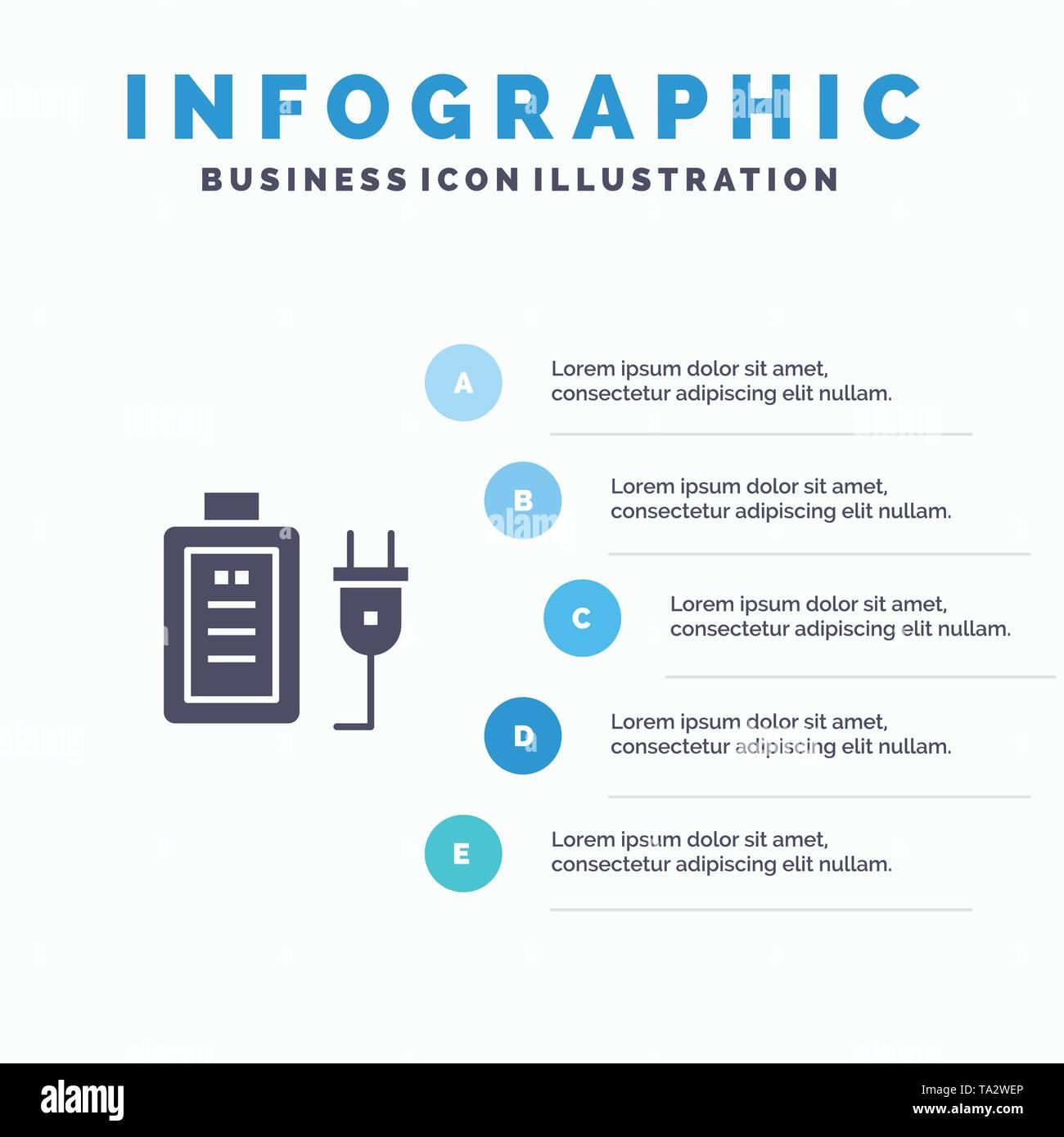 Battery, Charge, Plug, Education Infographics Presentation Template. 5 Steps Presentation - Stock Image