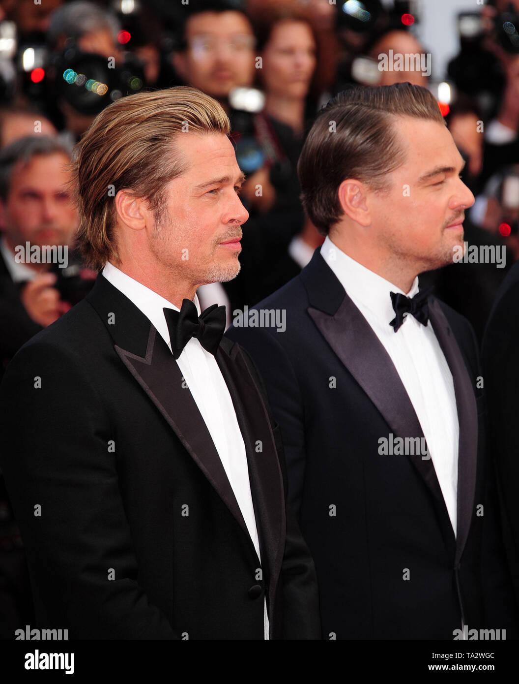 Cannes Film Festival 21stMay at a Red Carpet Brad Pitt Leonardo Dicaprio Stock Photo