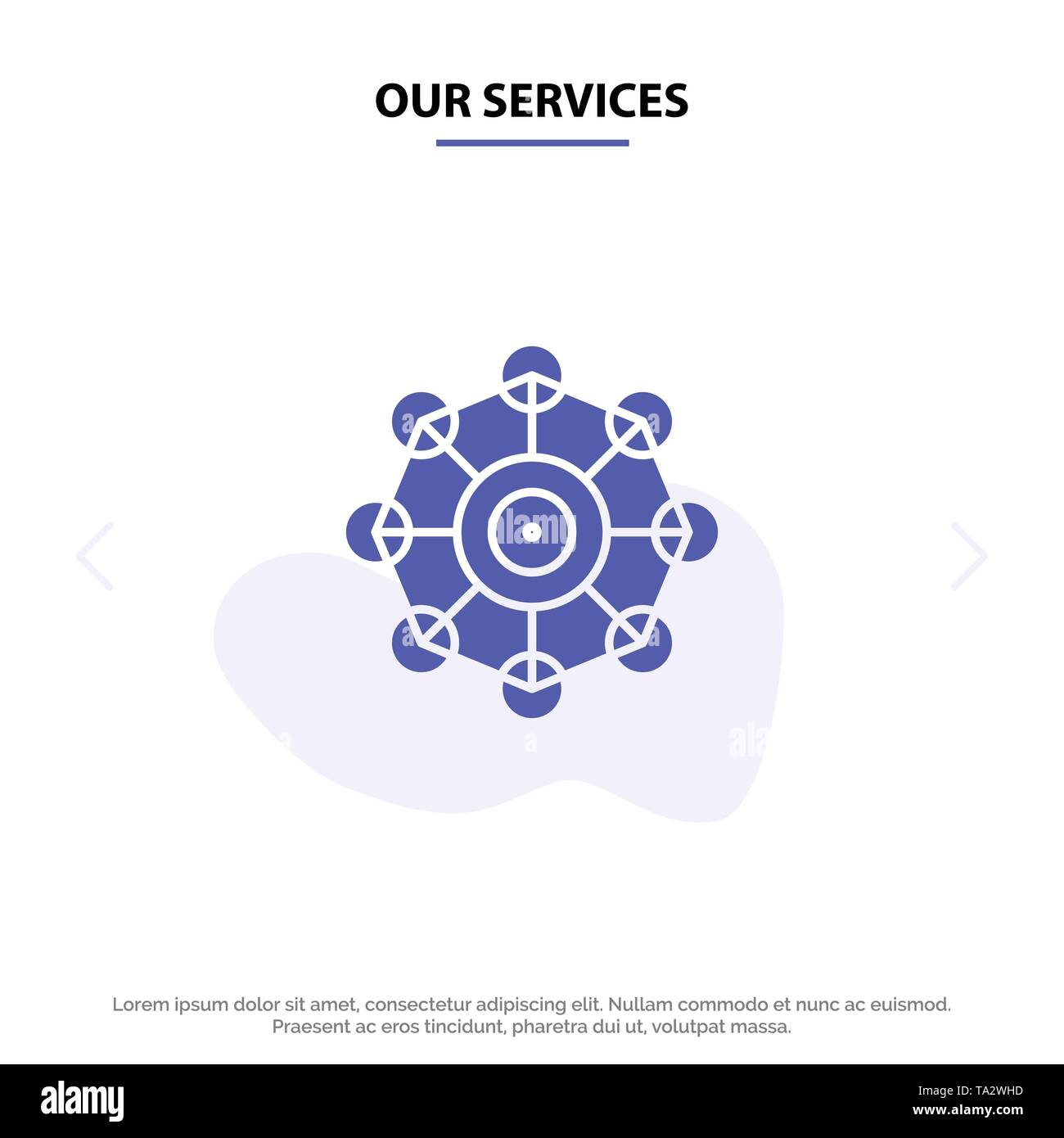 Our Services Learning, Machine, Machine Learning, Science Solid Glyph Icon Web card Template - Stock Image