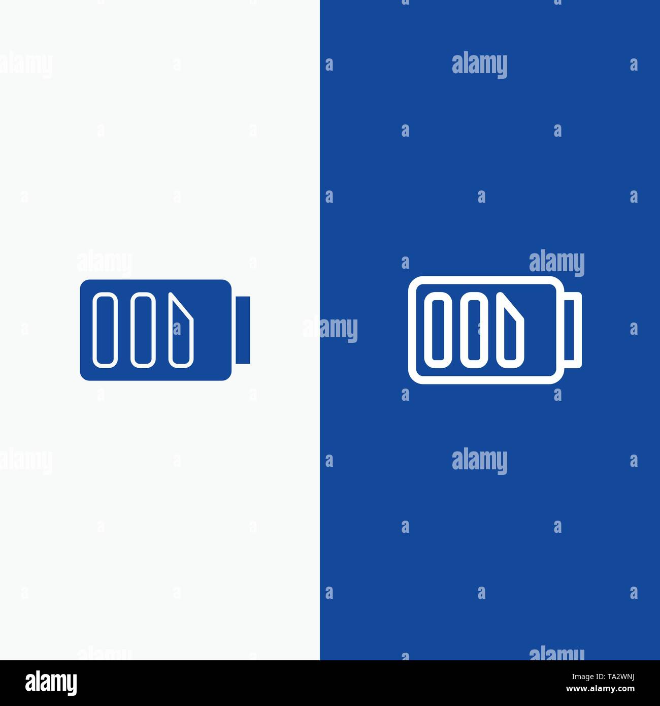 Charge, Battery, Electricity, Simple Line and Glyph Solid icon Blue banner Line and Glyph Solid icon Blue banner - Stock Image