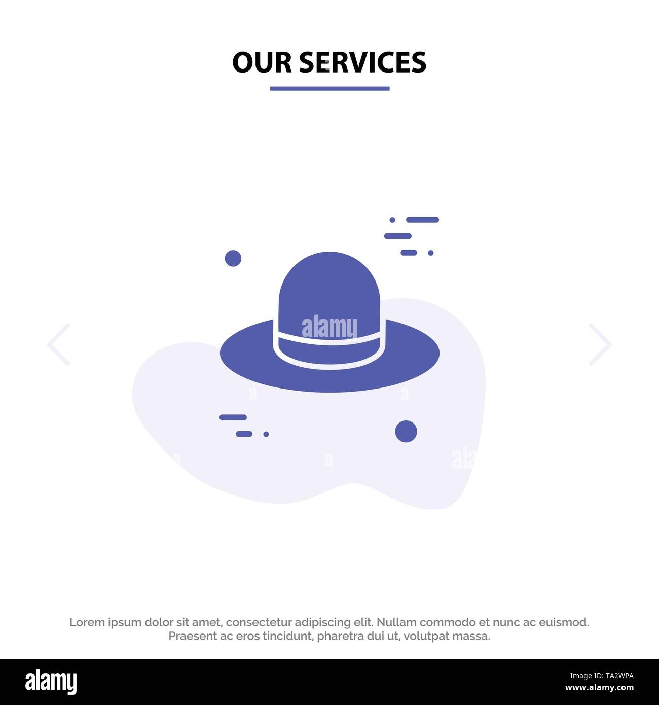 Our Services Hat, Cap, Canada Solid Glyph Icon Web card Template - Stock Image