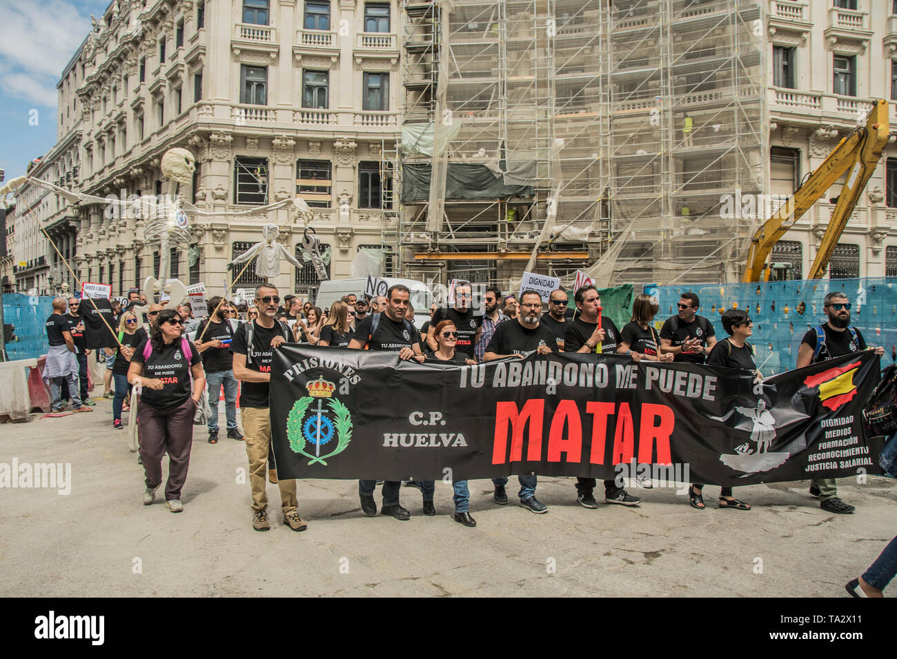 Workers from the Córdoba prison went to Madrid to participate in the demonstration called by the association 'Your abandonment can kill me', to show t - Stock Image