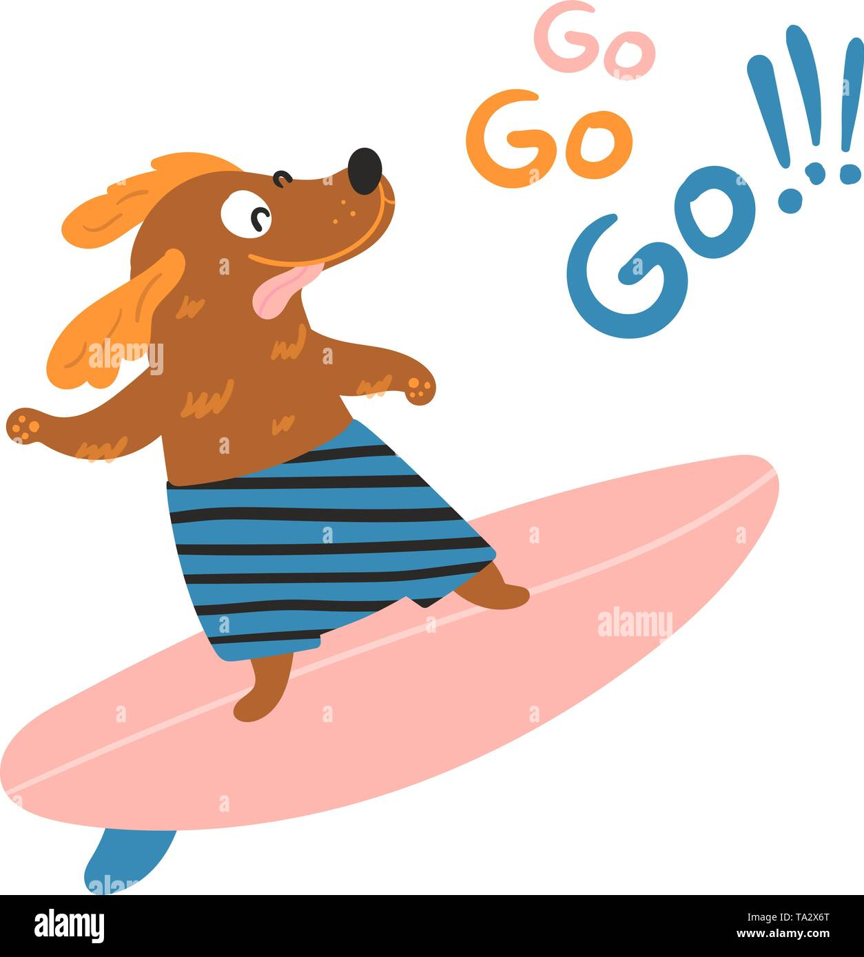 Dog surfer is surfing on a surfboard. Go go go lettering. Purebred pet animal in shorts is training for summer water activity on a bord. Flat vector i - Stock Image
