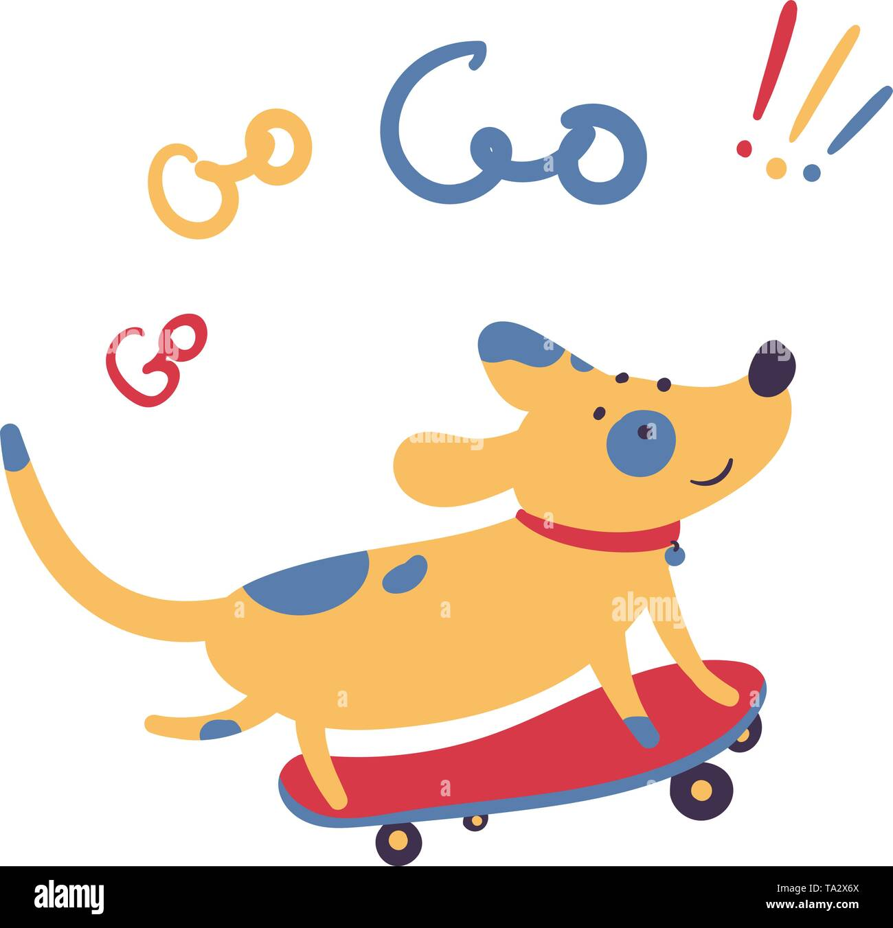 Dog skates on skateboard. Go go go lettering. Pet domestic animal stands three foot on a personal transport, skate. Summer activity sports and motivat - Stock Image