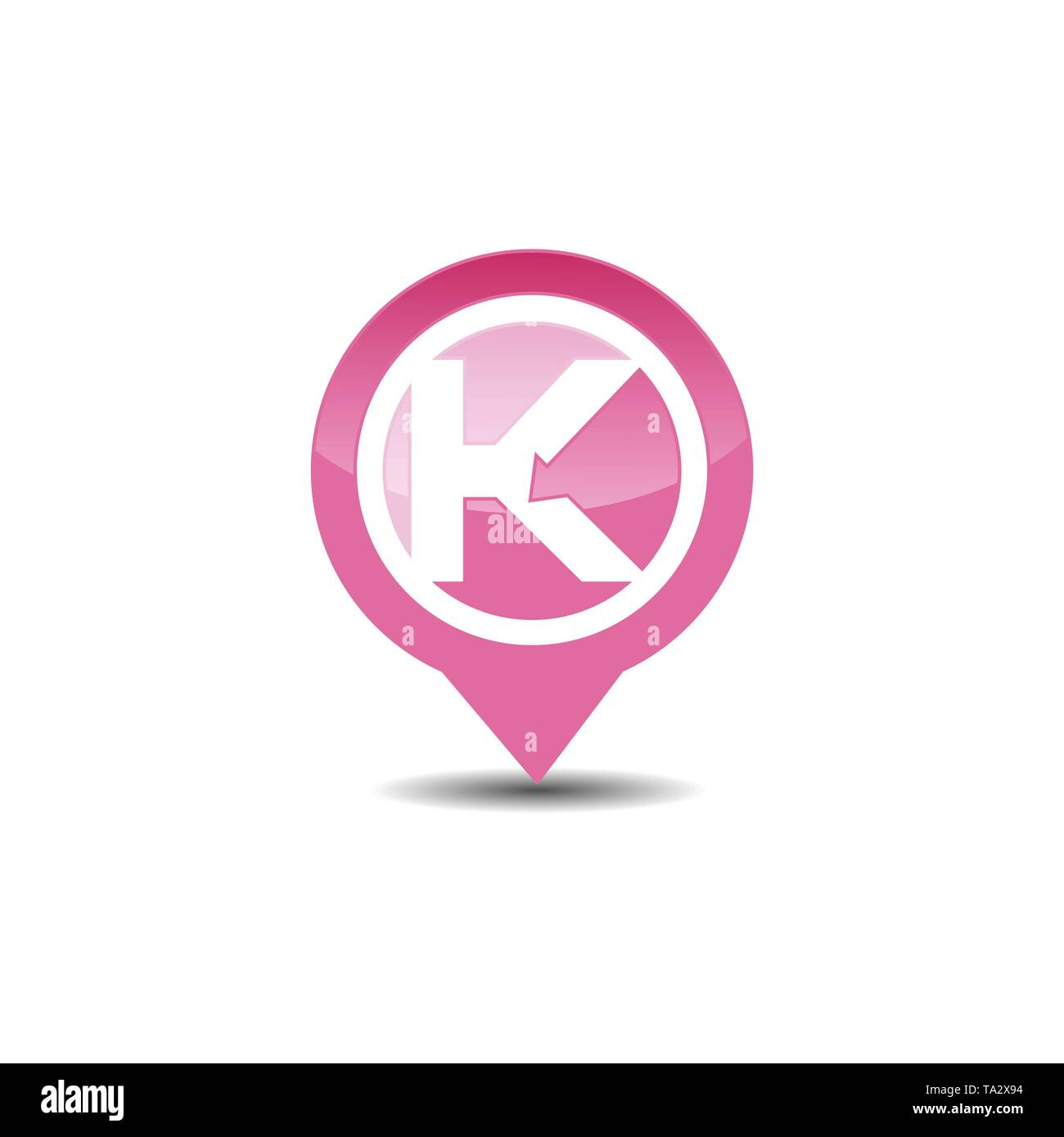 Letter K GPS pointer logo icon - Stock Image