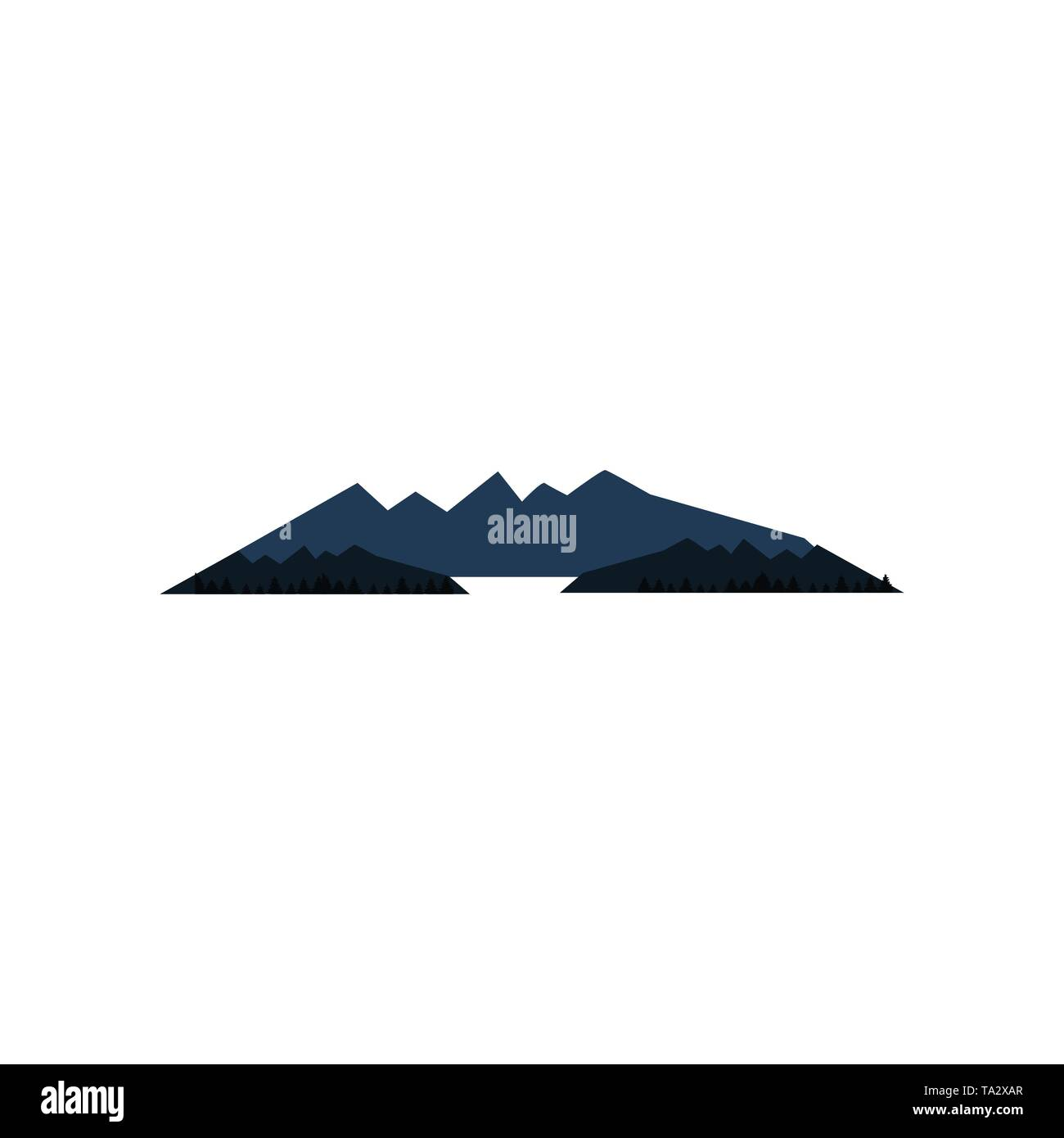 Flat Simple minimalist mountain landscape vector design illustration - Stock Vector
