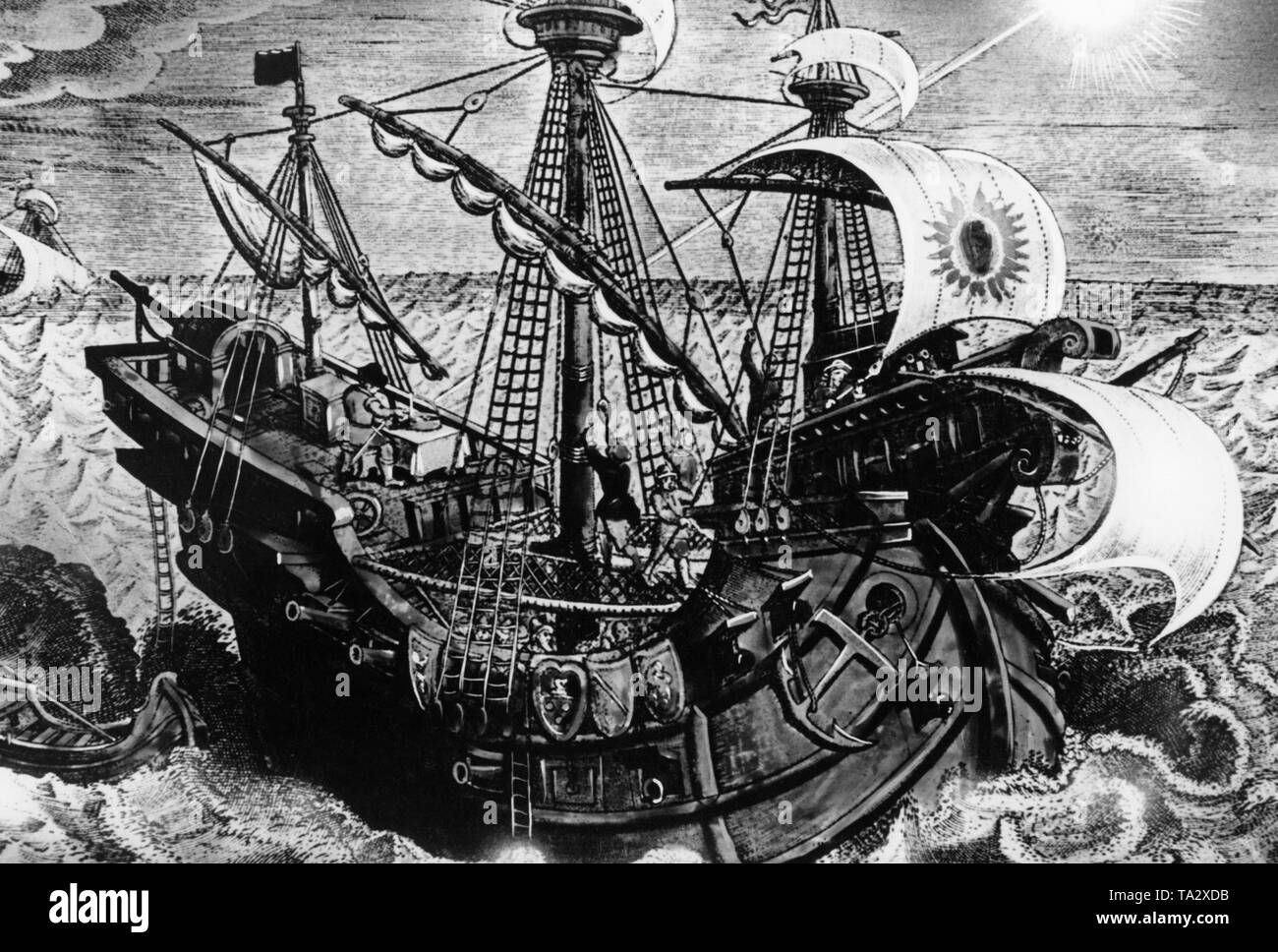 A cog at sea. Cogs were spacious merchant ships, which served the exchange of goods between the cities of the Hanseatic League. - Stock Image