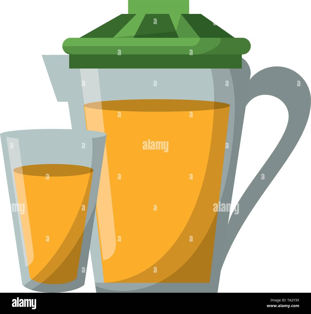 Orange juice cup and jar cartoon Vector illustration - Stock Image