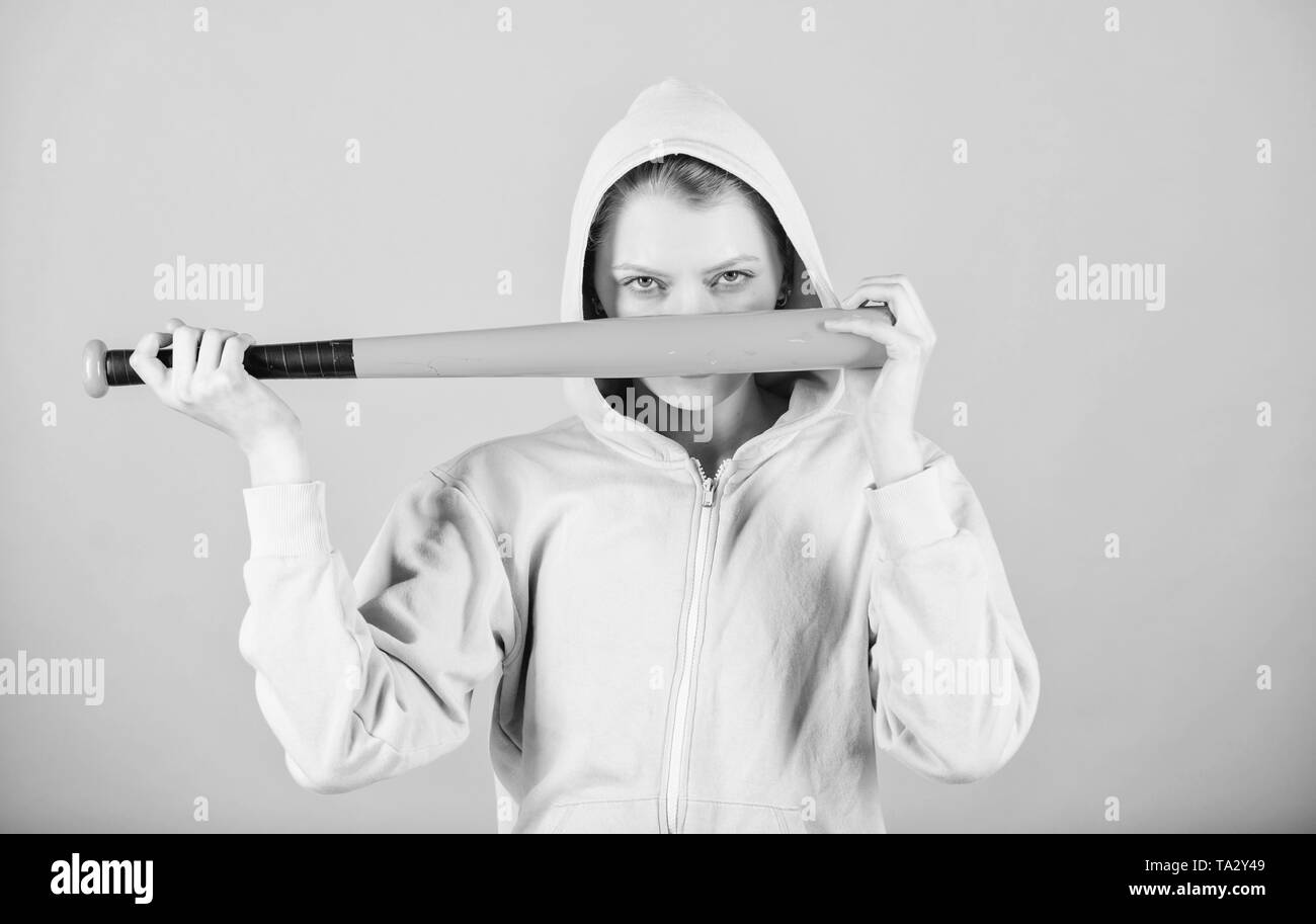 aggressive woman with bat. Sport equipment. Athletic fitness. Fighting with aggression. Street life. Sporty girl fighter. woman workout with baseball bat. I am ready to fight. hidden aggression. - Stock Image