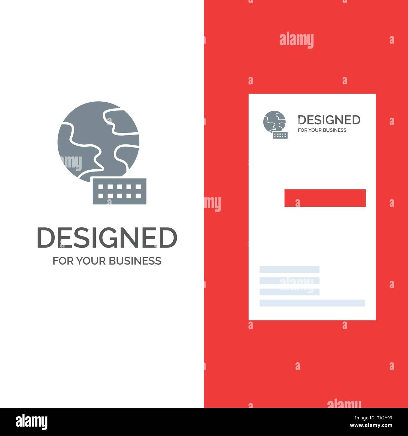 World, Globe, Marketing Grey Logo Design and Business Card Template - Stock Image