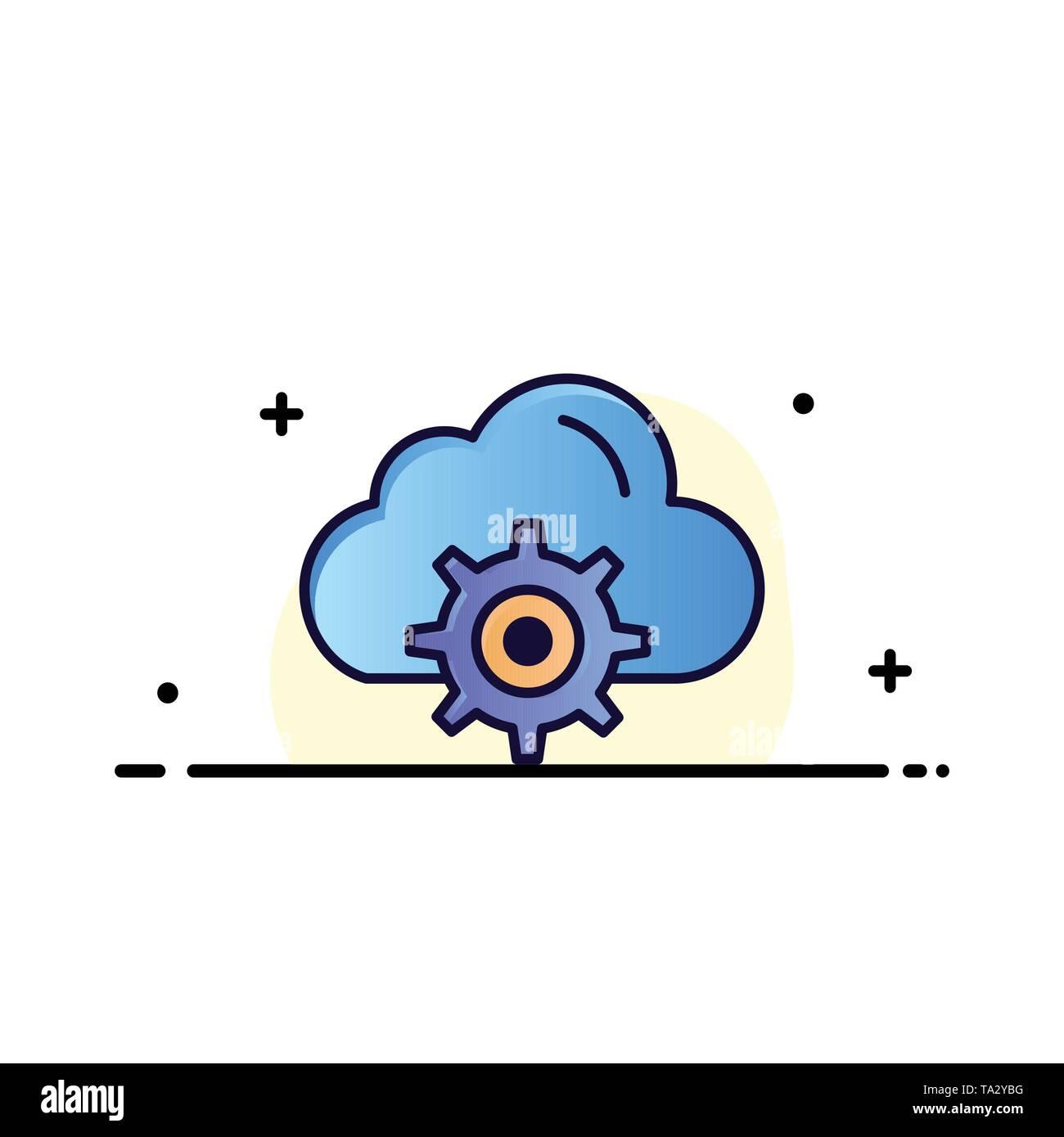 Cloud, Setting, Gear, Computing Business Logo Template. Flat Color - Stock Image