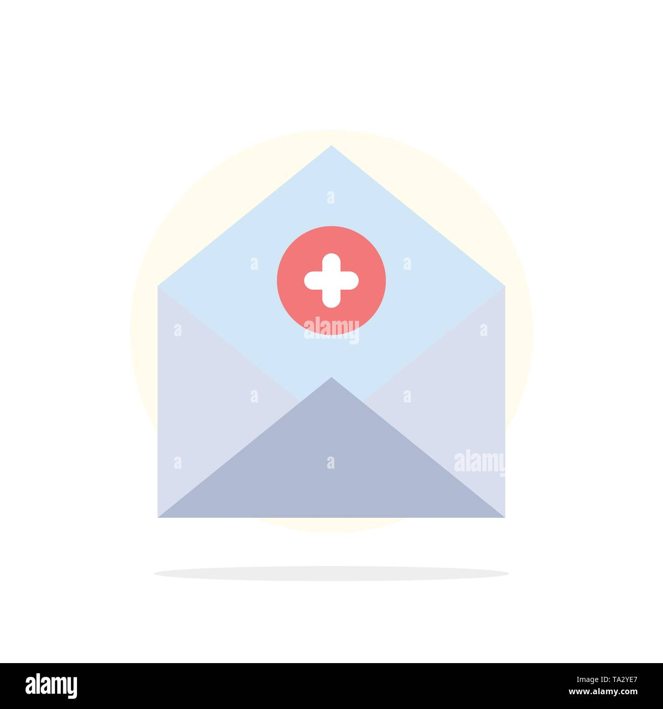 Add, Add-Mail, Communication, Email, Mail Abstract Circle Background Flat color Icon - Stock Image