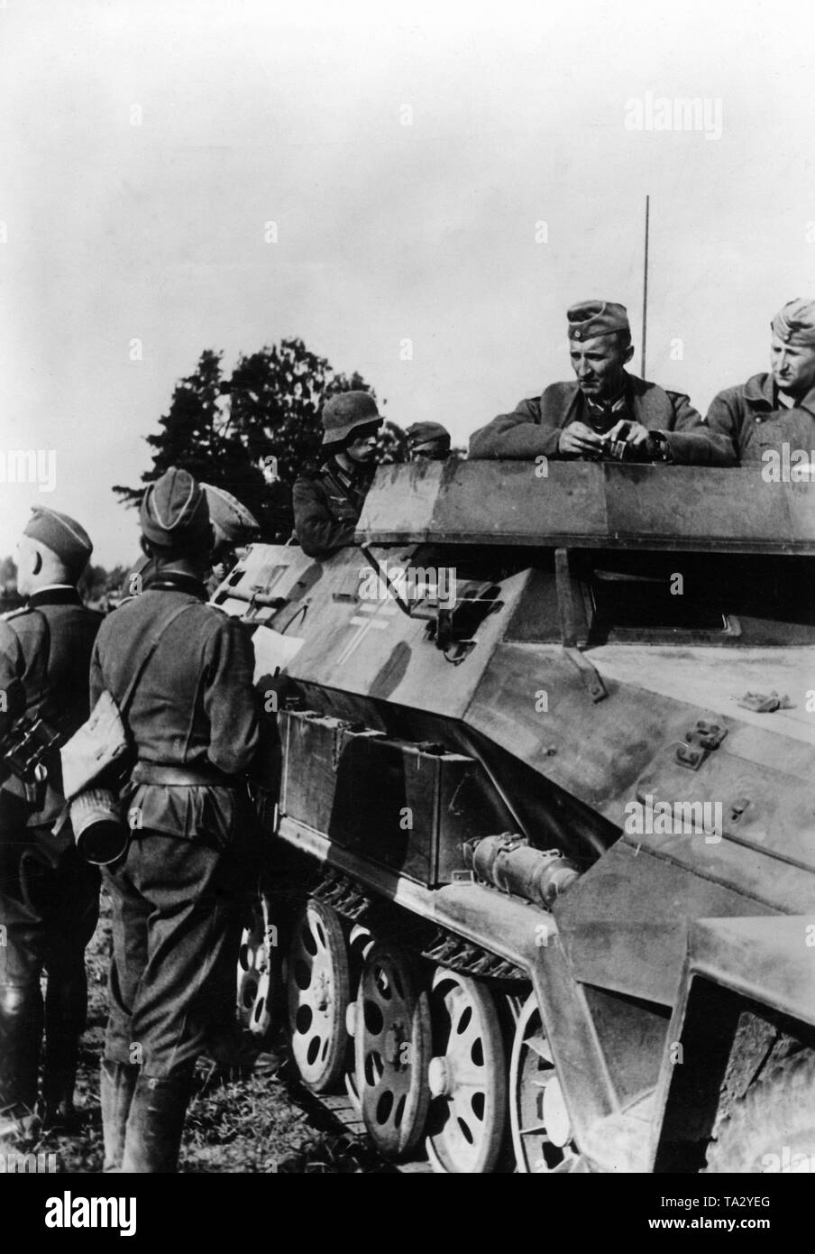 Mobile regimental staff during the tank battle at Tauroggen in today's Lithuania. Officers in conversation at an armored personnel carrier Sdkfz. 251. Shortly after the beginning of the German-Soviet War and the advance of the Army Group North here took place the tank battle at Tauroggen-Schaulen, where the XXXXI mot. Armeekorps fought on the German side. Photo: war correspondent Tannenberg. Stock Photo