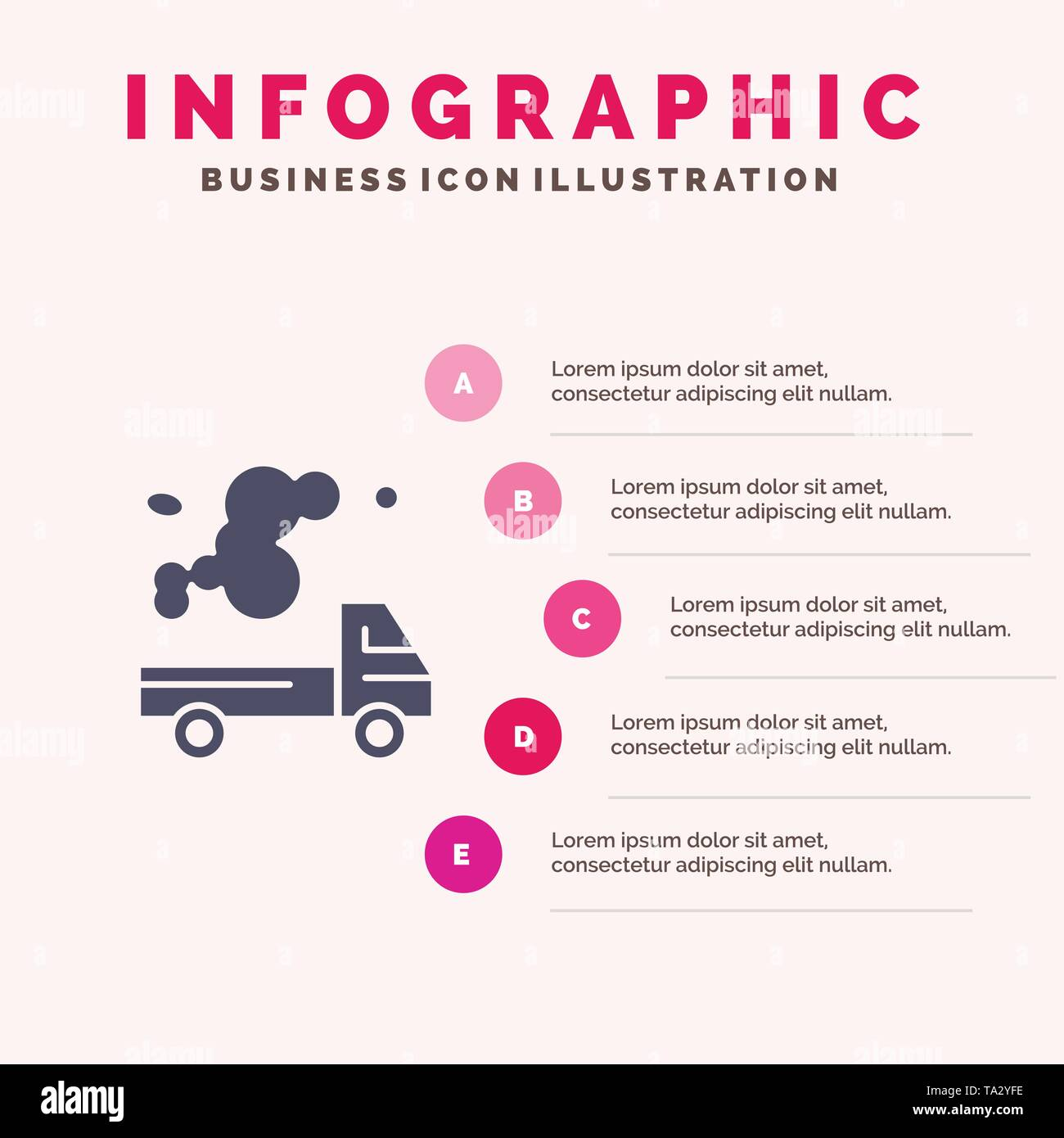 Automobile, Truck, Emission, Gas, Pollution Solid Icon Infographics 5 Steps Presentation Background - Stock Image