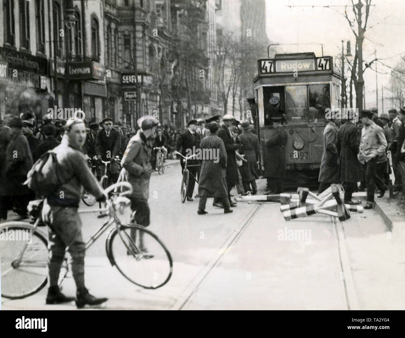 The disturbance of local transport was a popular way of demonstration, as it was possible to get the most attention and the strongest propaganda success with it. This was often the case in the working-class districts Wedding and Neukoelln in Berlin. - Stock Image