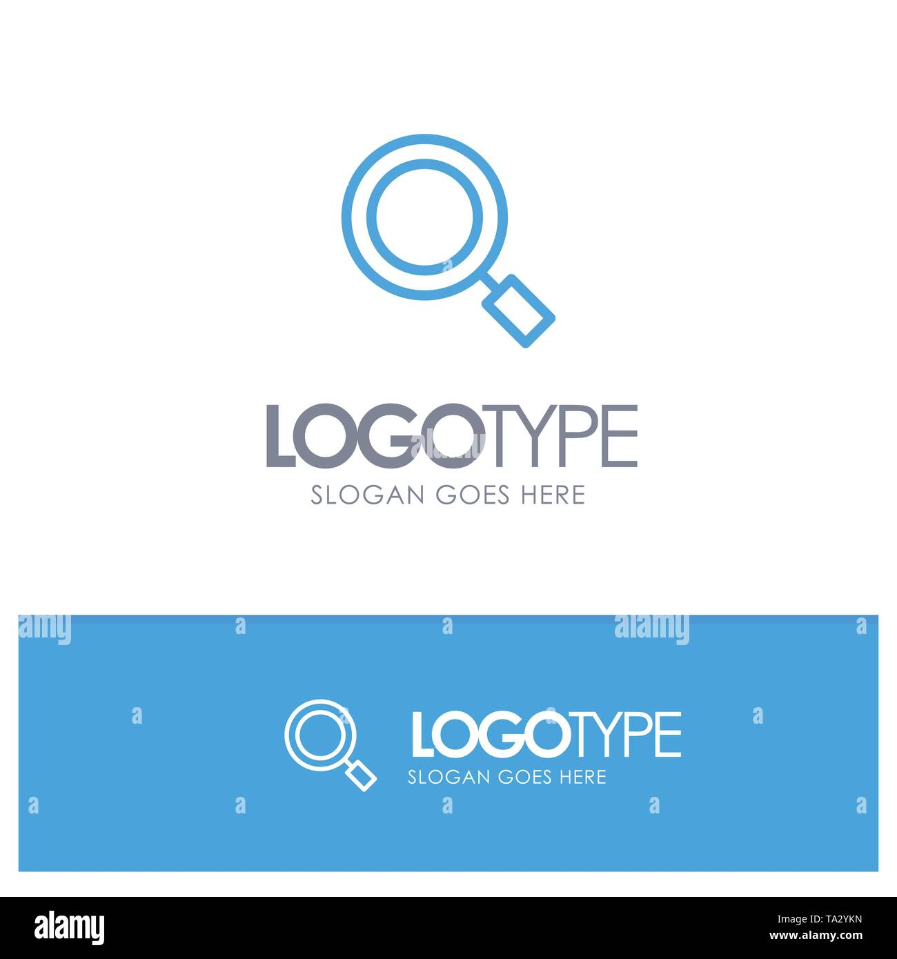 General, Magnifier, Magnify, Search Blue outLine Logo with place for tagline - Stock Image
