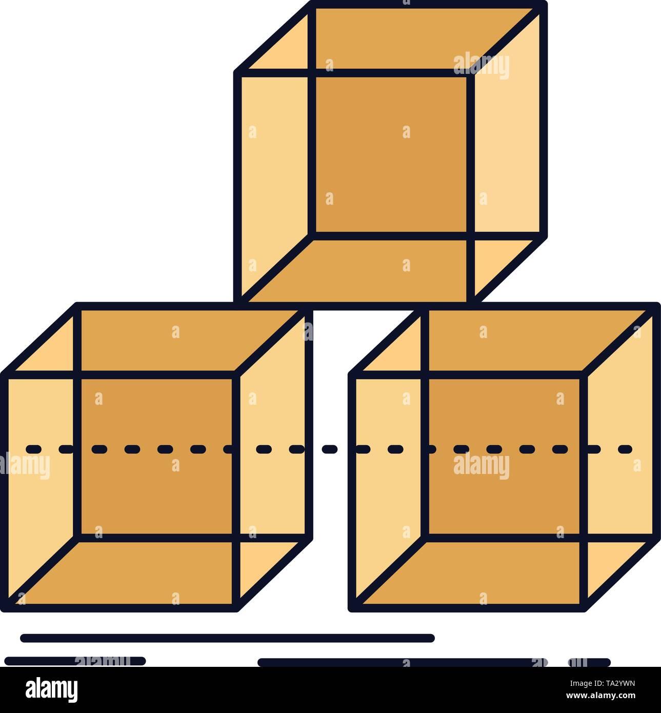 Arrange, design, stack, 3d, box Flat Color Icon Vector - Stock Vector