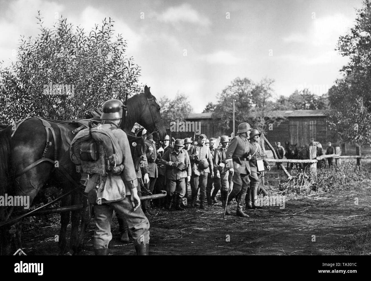 The UFA film 'Men Without a Fatherland' from 1937 is about the Freikorps 'Iron Division', a volunteer unit consisting of Germans and Baltic Germans fighting for the newly founded Baltic states against the Soviet Red Army. - Stock Image