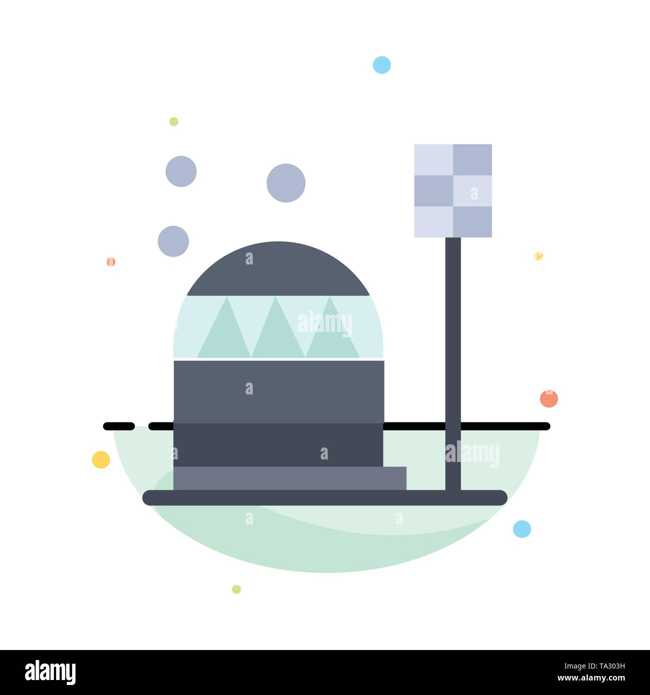 Base, Colony, Construction, Dome, Habitation Abstract Flat Color Icon Template - Stock Image