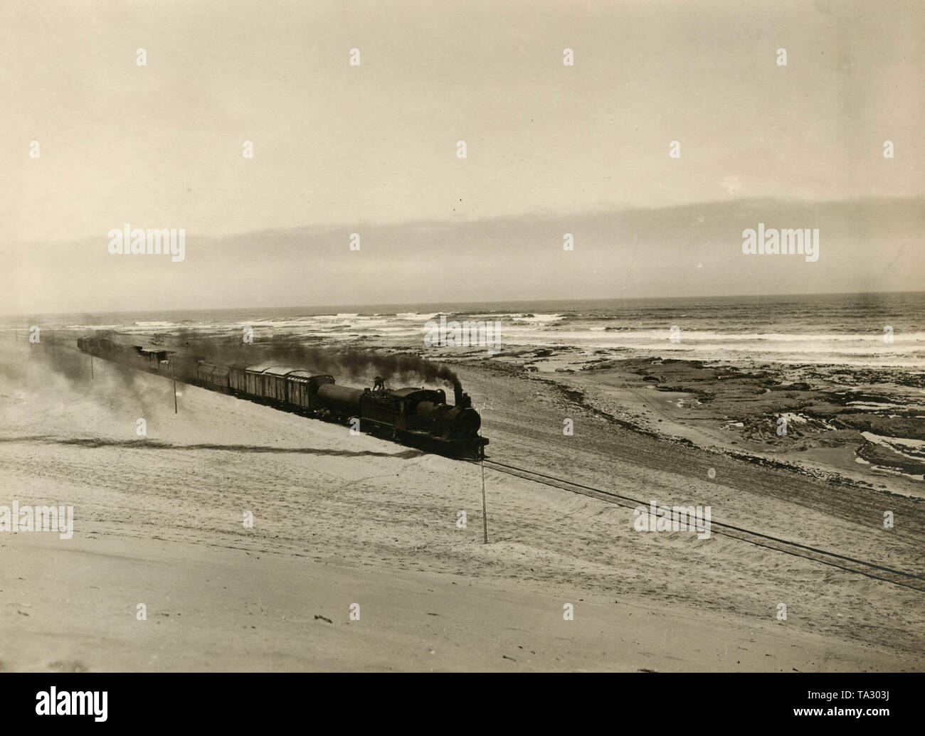 The Otavi Railway in the Walvis Bay near Swakopmund, in the former German colony of German South West Africa. - Stock Image