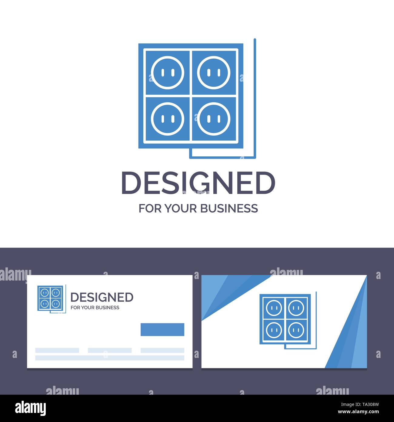 Creative Business Card and Logo template Building, Construction, Plug, Socket, Tool Vector Illustration - Stock Image