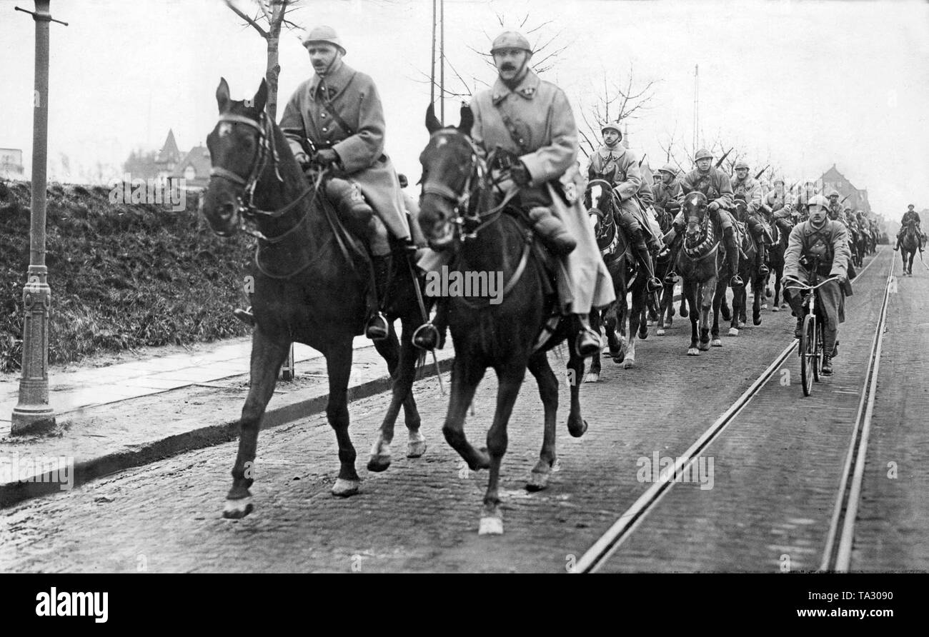 Cavalry of the French army as part of the Allied  occupation army during the invasion of the Ruhr. - Stock Image