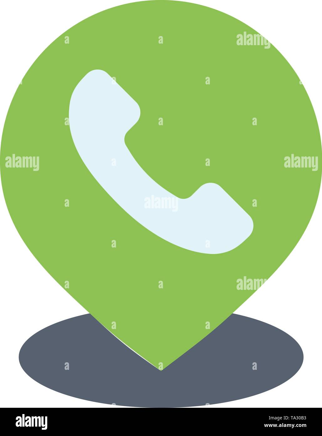 Telephone, Phone, Map, Location  Flat Color Icon. Vector icon banner Template - Stock Image