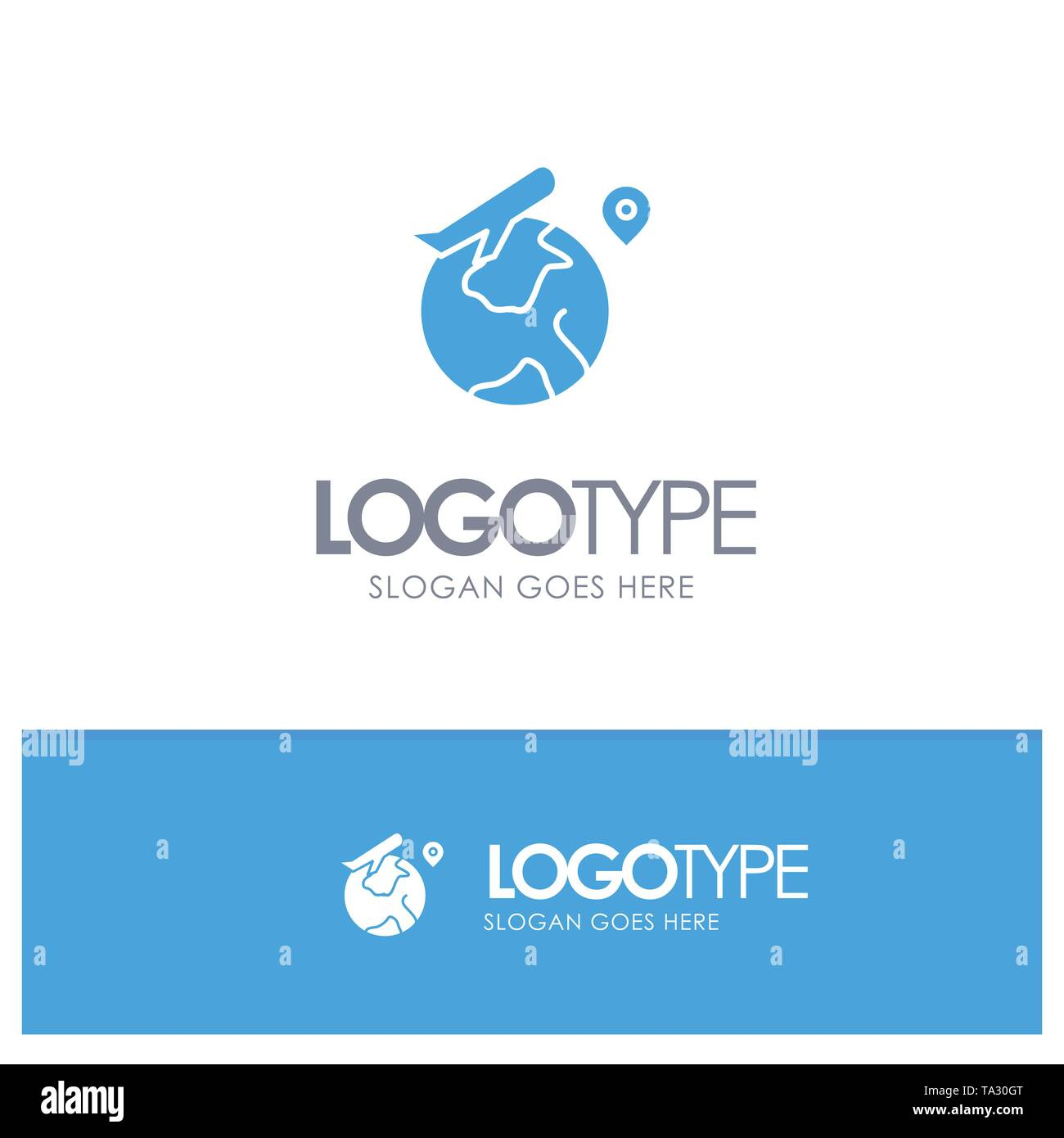 World, Location, Fly, Job Blue Solid Logo with place for tagline - Stock Image